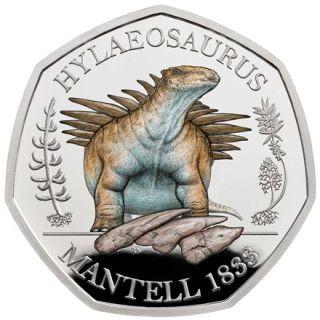 Vorderseite:Großbritannien : 50 Pc Dinosaurier Kollektion - farbig Hylaeosaurus  im Etui  2020 PP