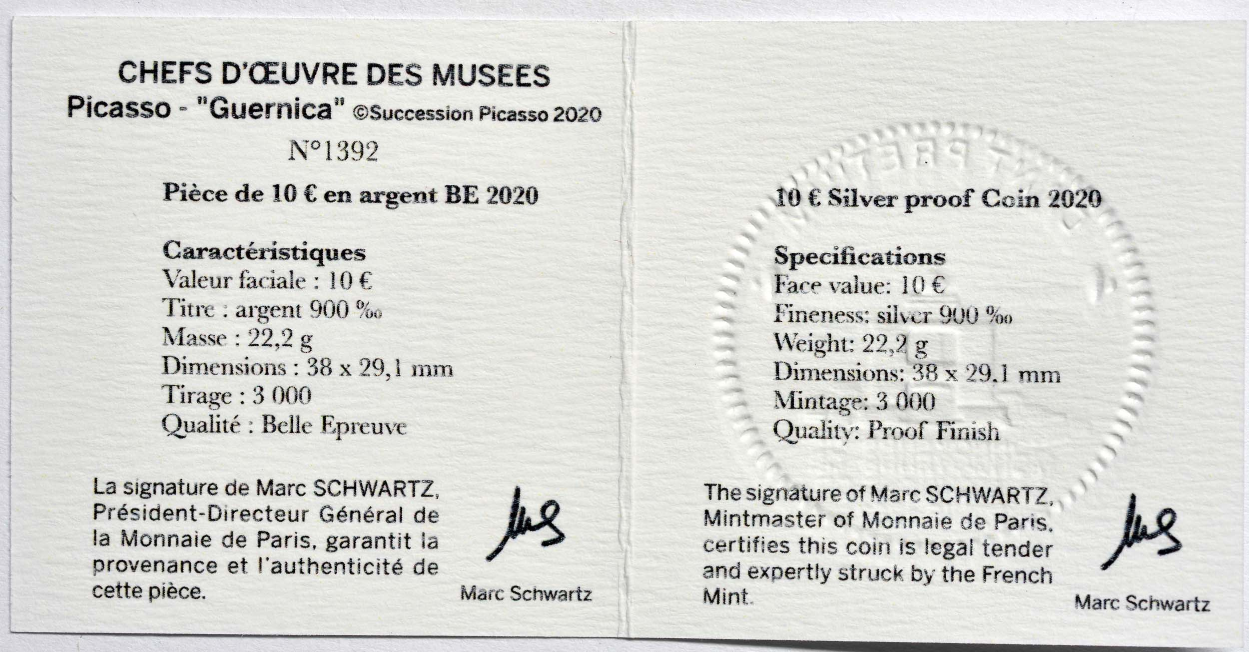 Zertifikat:Frankreich : 10 Euro Picasso - Guernica   2020 PP