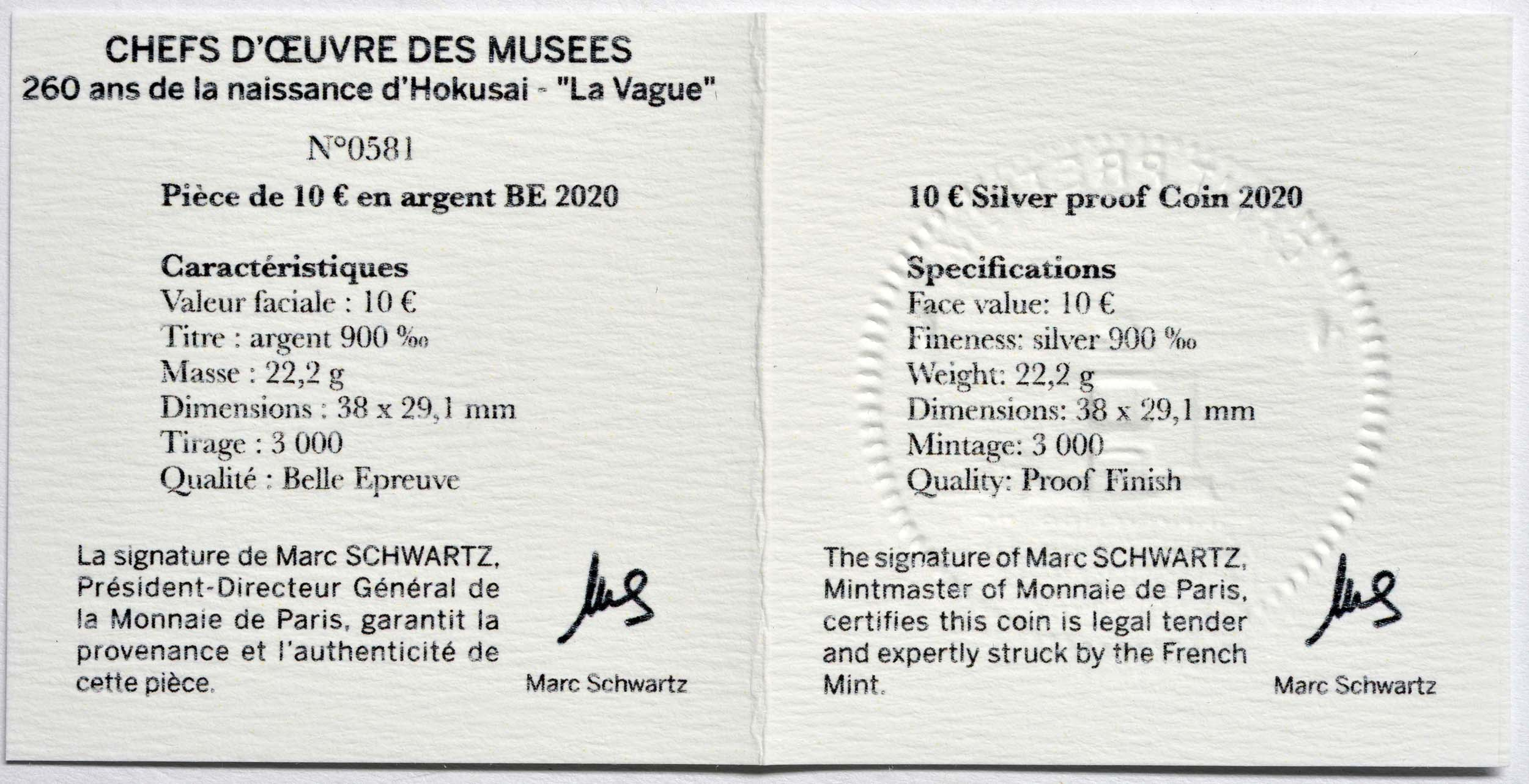 Zertifikat:Frankreich : 10 Euro Hokusai/Die Welle  2020 PP