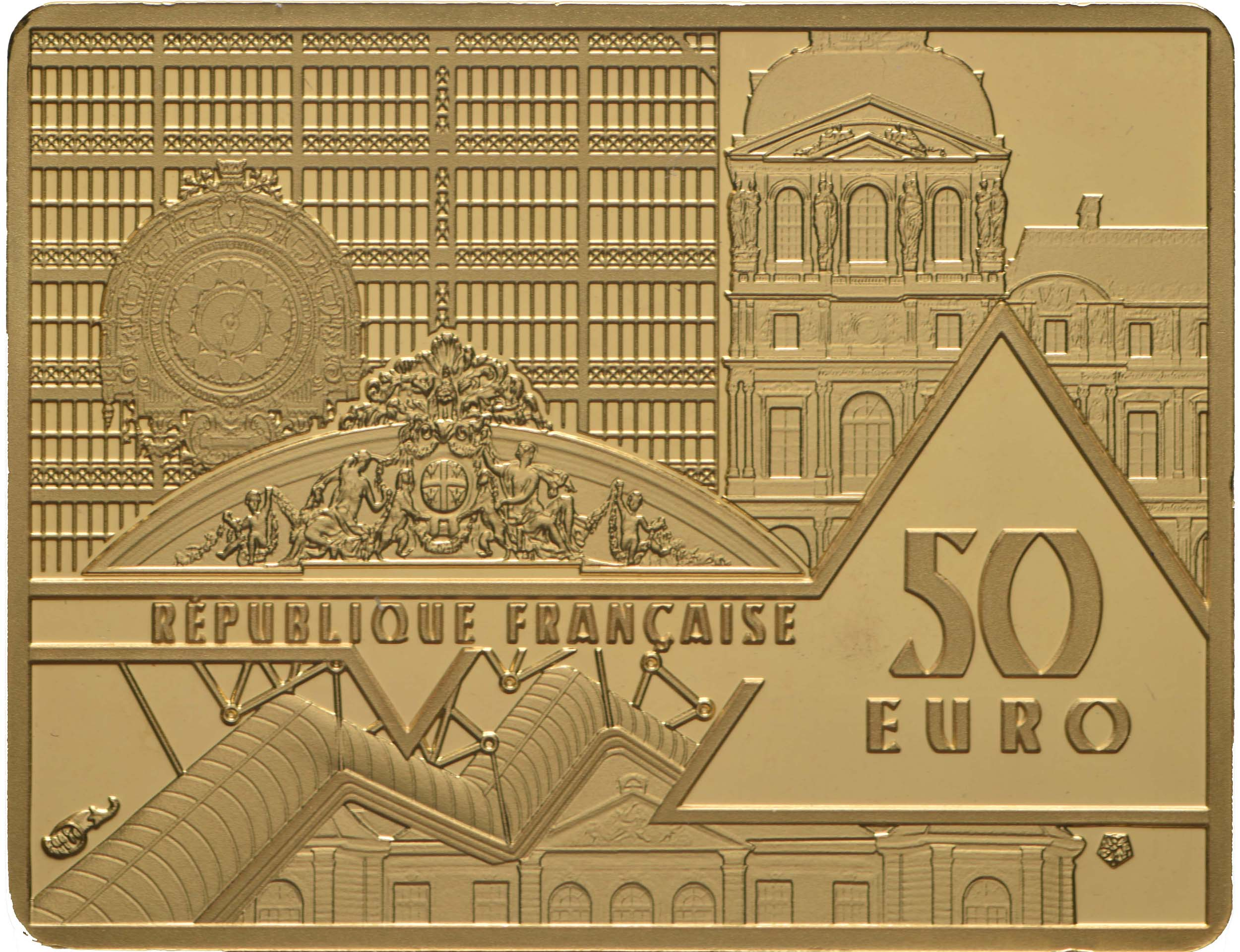 Rückseite:Frankreich : 50 Euro Hokusai/Die Welle  2020 PP
