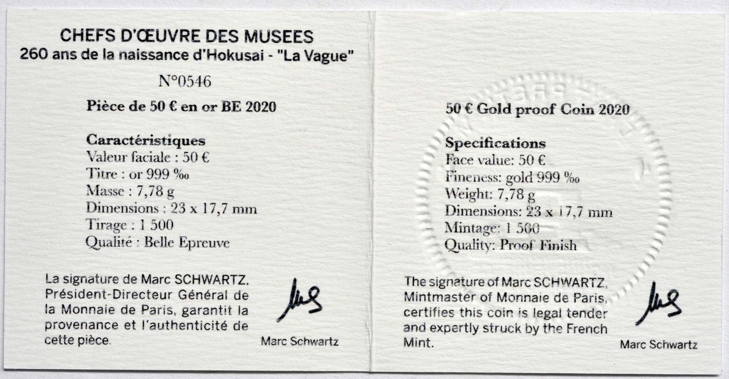 Zertifikat:Frankreich : 50 Euro Hokusai/Die Welle  2020 PP