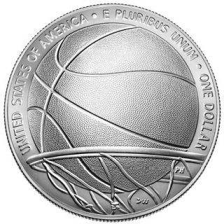 Rückseite:USA : 1 Dollar Basketball - Hall of Fame  2020 Stgl.