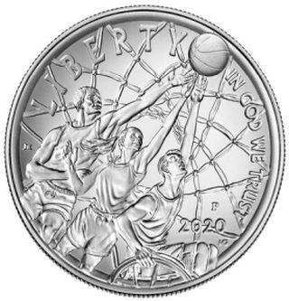 Vorderseite:USA : 1 Dollar Basketball - Hall of Fame  2020 Stgl.