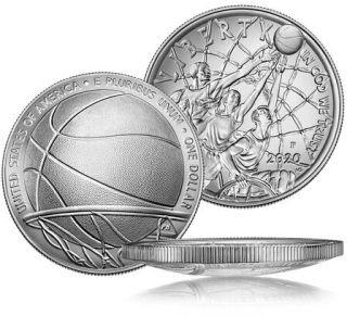 Zertifikat:USA : 1 Dollar Basketball - Hall of Fame  2020 Stgl.