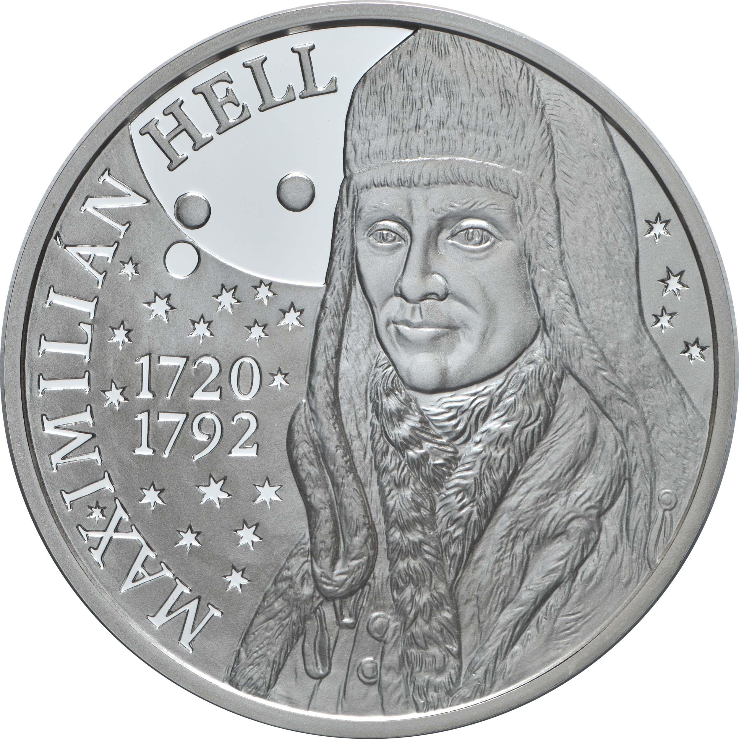 Vorderseite:Slowakei : 10 Euro 300. Geb. Maximilian Hell (Astronom)  2020 PP