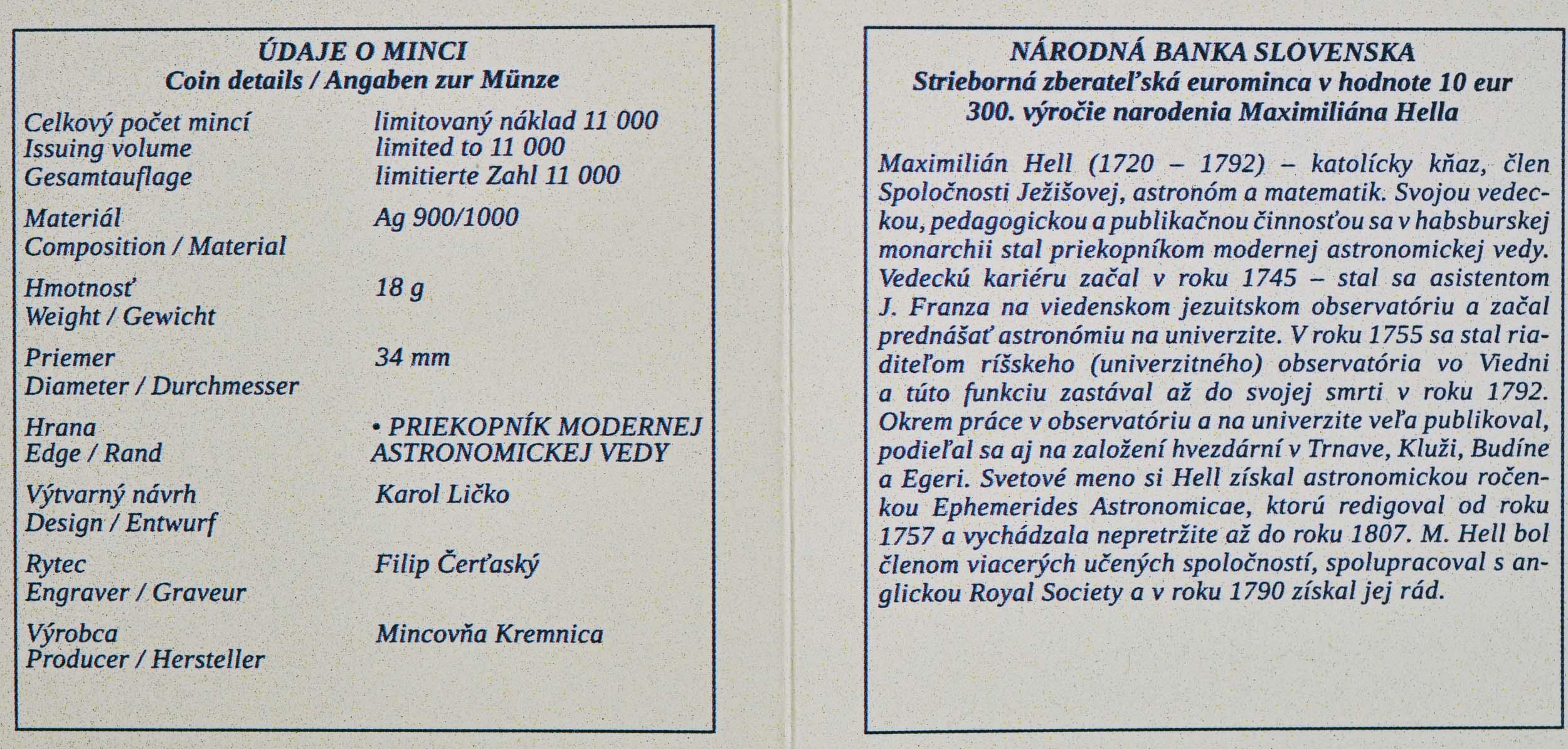 Zertifikat:Slowakei : 10 Euro 300. Geb. Maximilian Hell (Astronom)  2020 PP