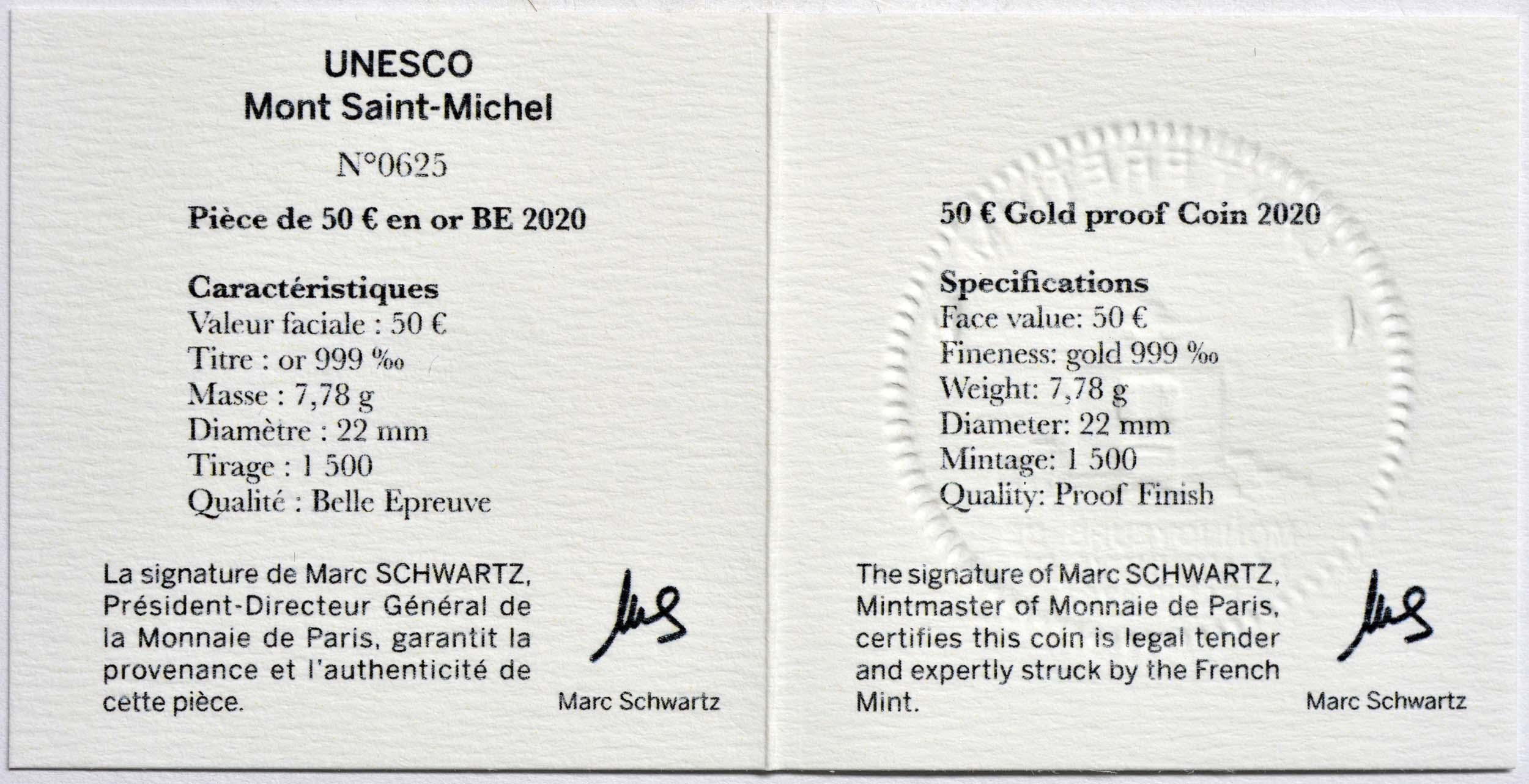 Zertifikat:Frankreich : 50 Euro Die Drei Berge - Mt. St.-Michel  2020 PP