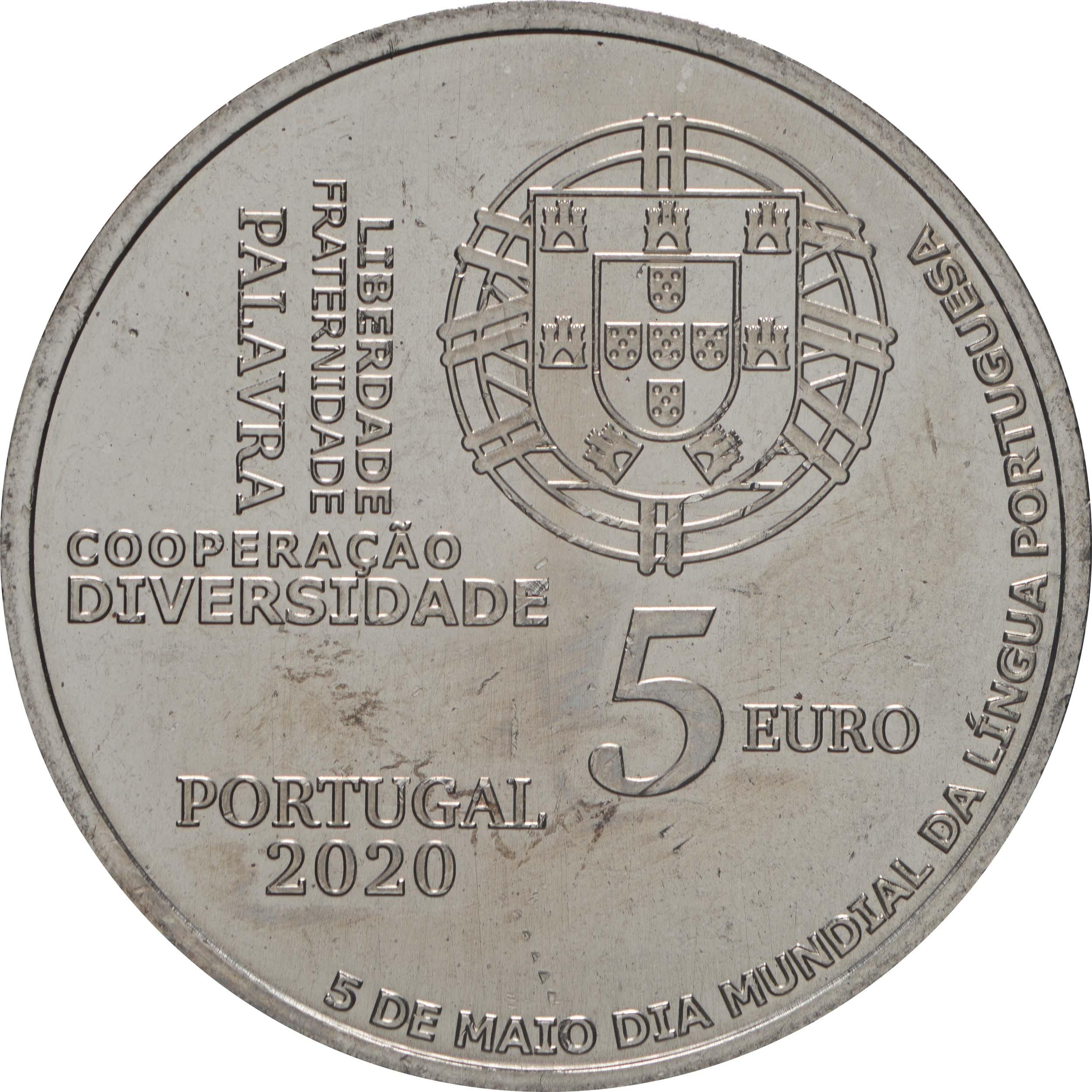 Rückseite:Portugal : 5 Euro Welttag der Portugiesischen Sprache  2020 bfr