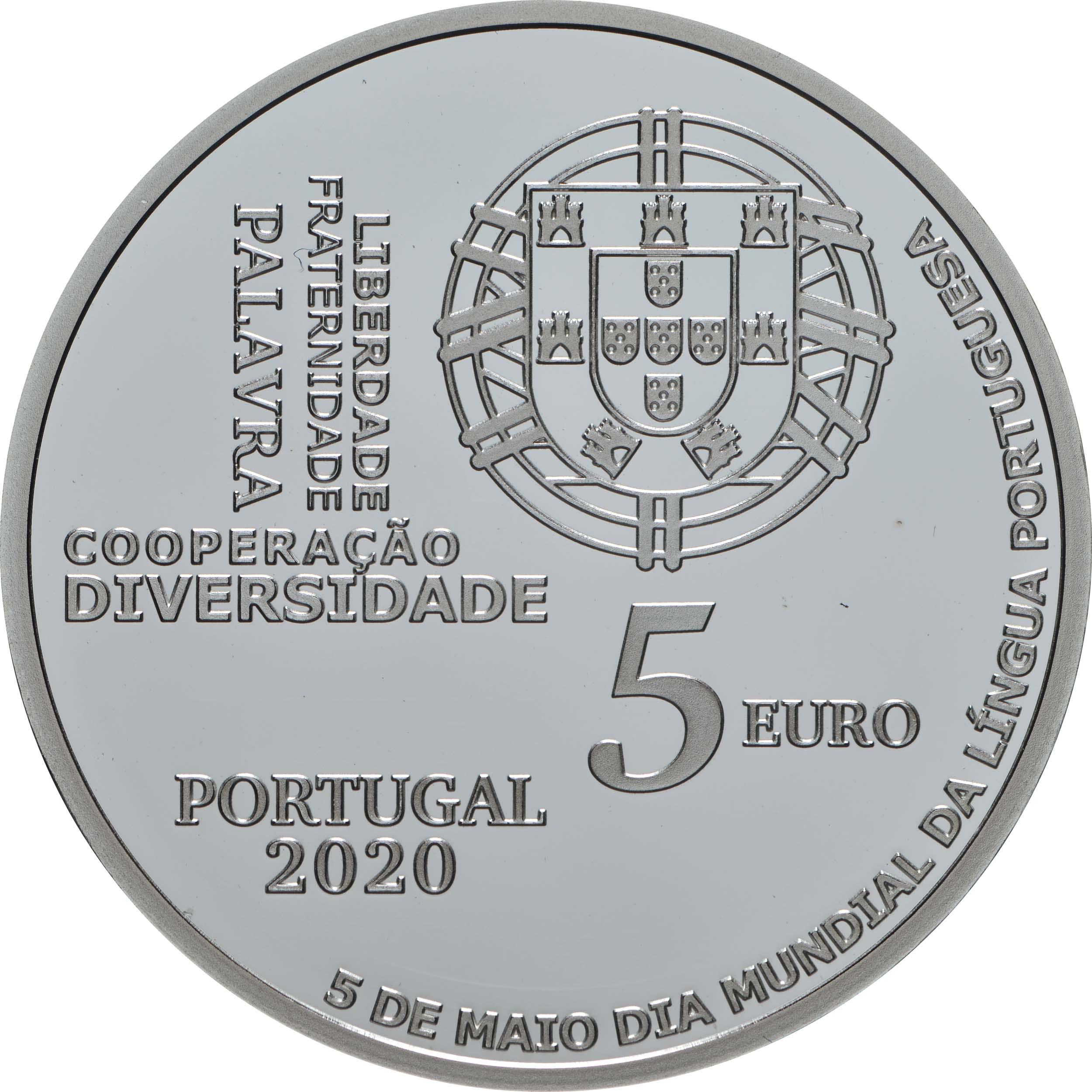 Rückseite:Portugal : 5 Euro Welttag der Portugiesischen Sprache  2020 PP