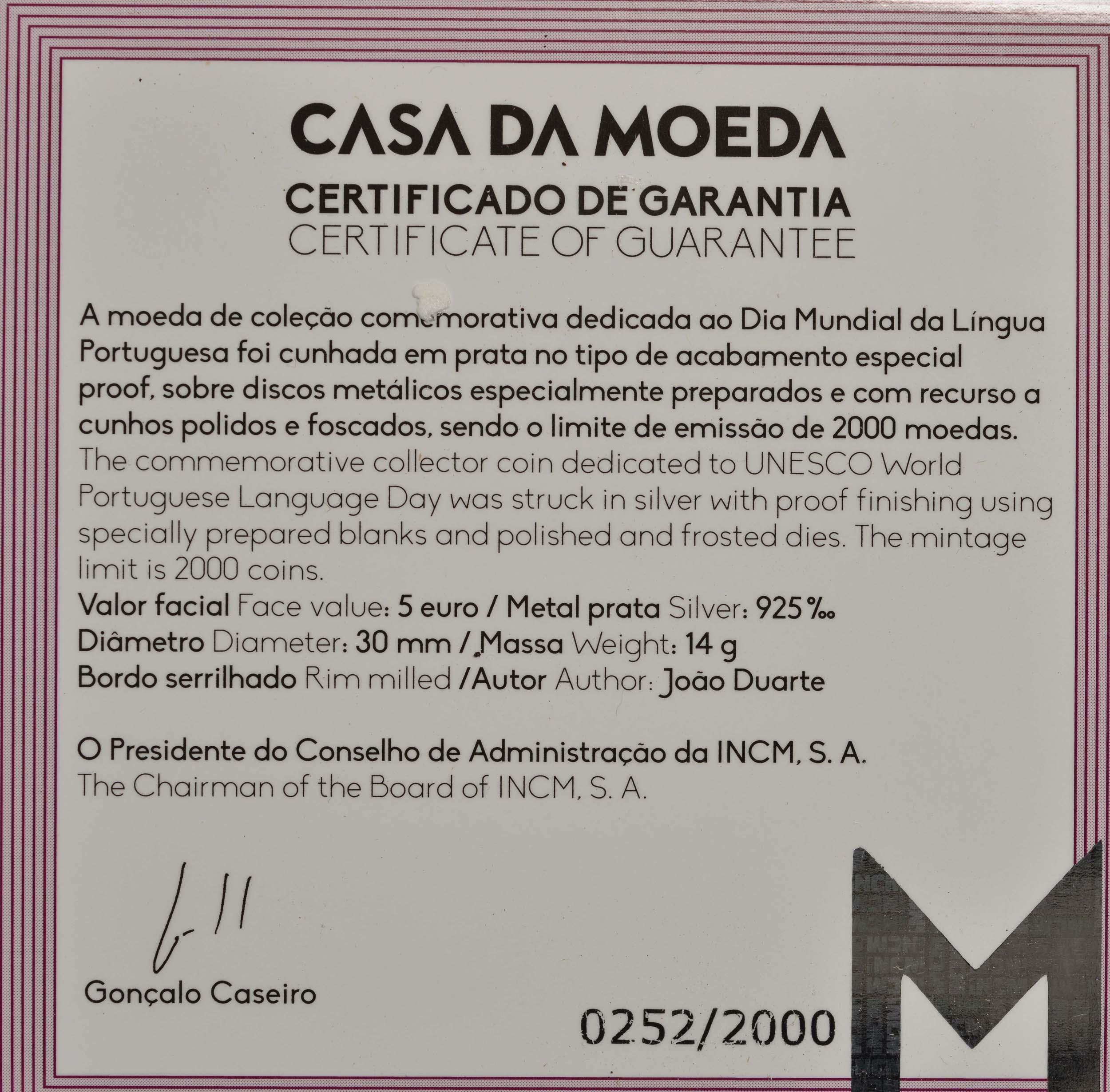 Zertifikat:Portugal : 5 Euro Welttag der Portugiesischen Sprache  2020 PP
