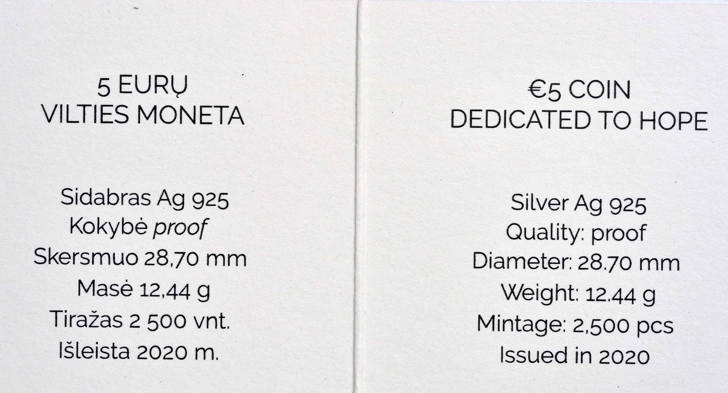 Zertifikat:Litauen : 5 Euro Corona - Hoffnung  2020 PP