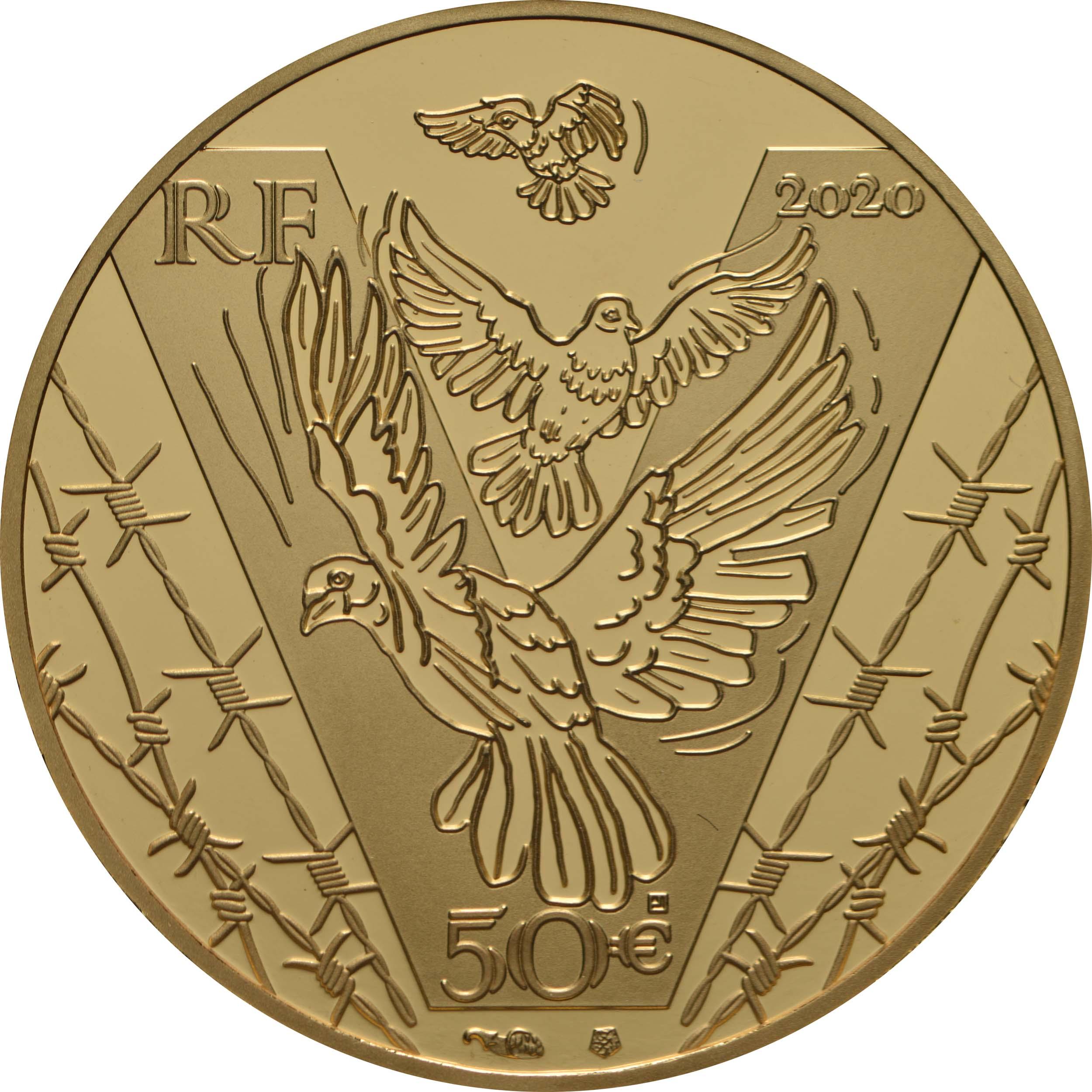 Rückseite:Frankreich : 50 Euro 75 Jahre Frieden  2020 PP