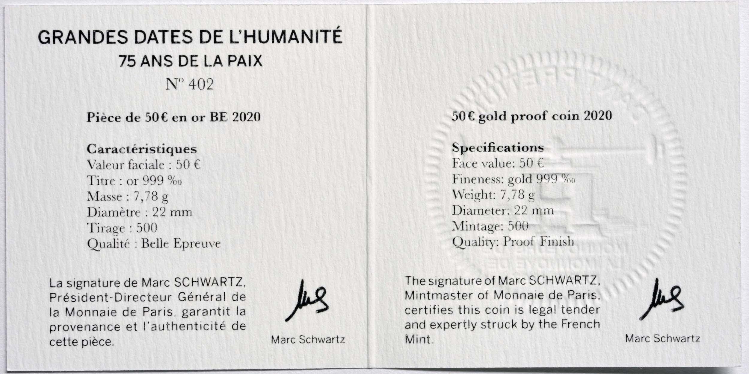 Zertifikat:Frankreich : 50 Euro 75 Jahre Frieden  2020 PP