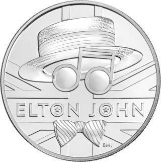 Vorderseite:Großbritannien : 5 Pfund Elton John - Musiklegenden  Blister  2020 Stgl.
