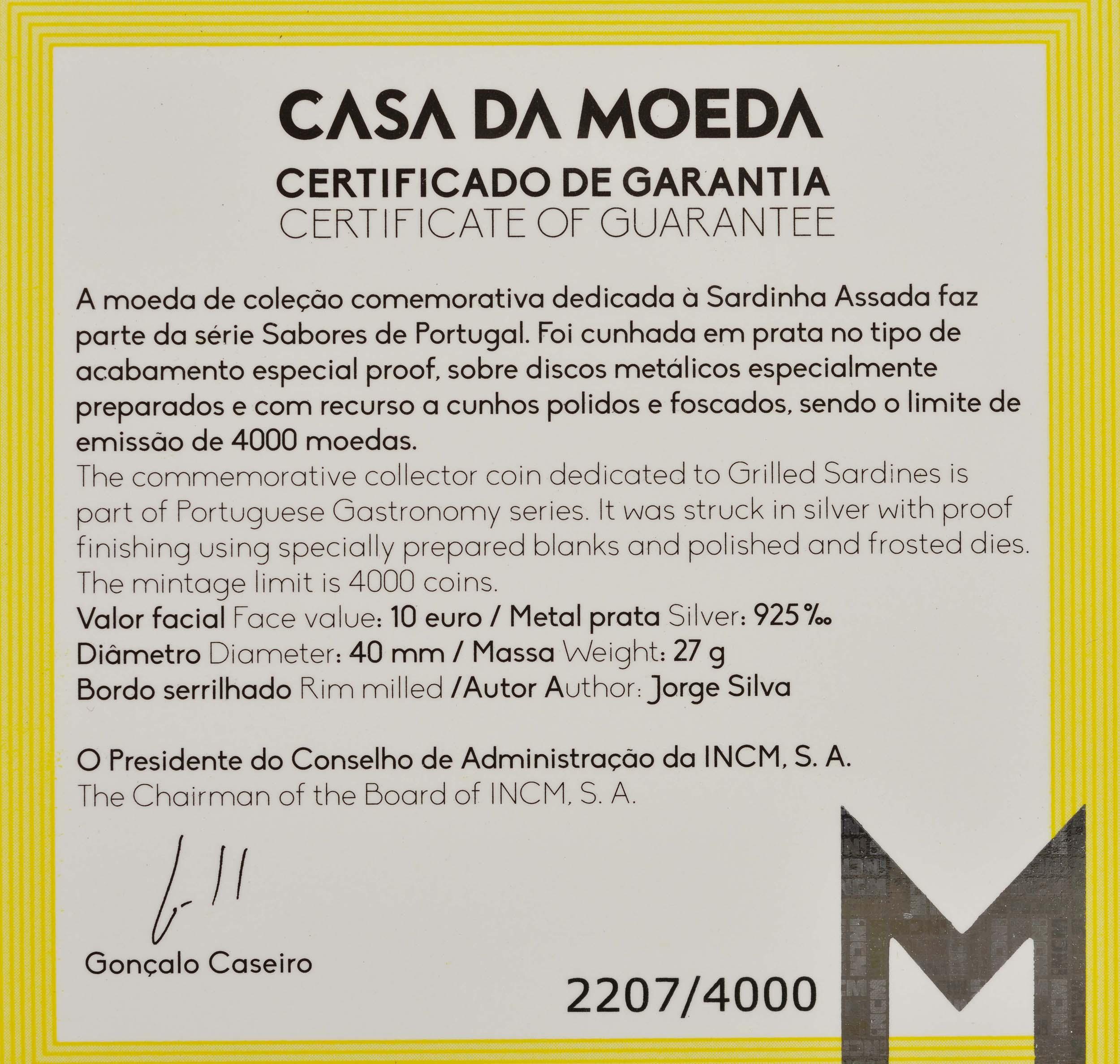 Zertifikat:Portugal : 10 Euro Sardinen  2020 PP