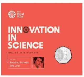 Vorderseite:Großbritannien : 50 Pence Rosalind Franklin - Blister  2020 Stgl.
