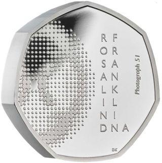 Vorderseite:Großbritannien : 50 Pence Rosalind Franklin Piedfort - im Etui  2020 PP