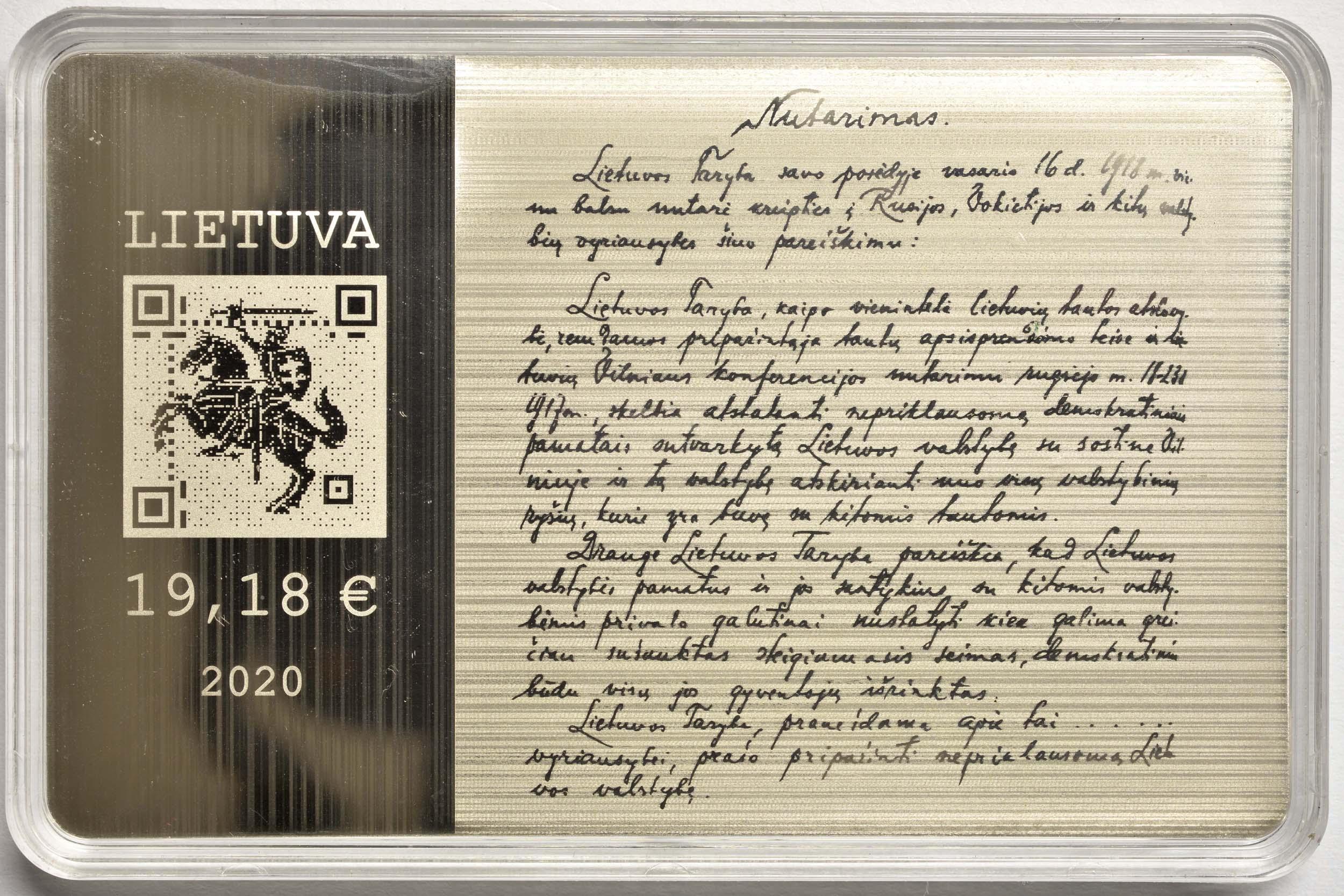 Rückseite:Litauen : 19,18 Euro Unterzeichner der Unabhängigkeitserklärung im Jahr 1918 - erste Blockchain-Münze  2020 PP