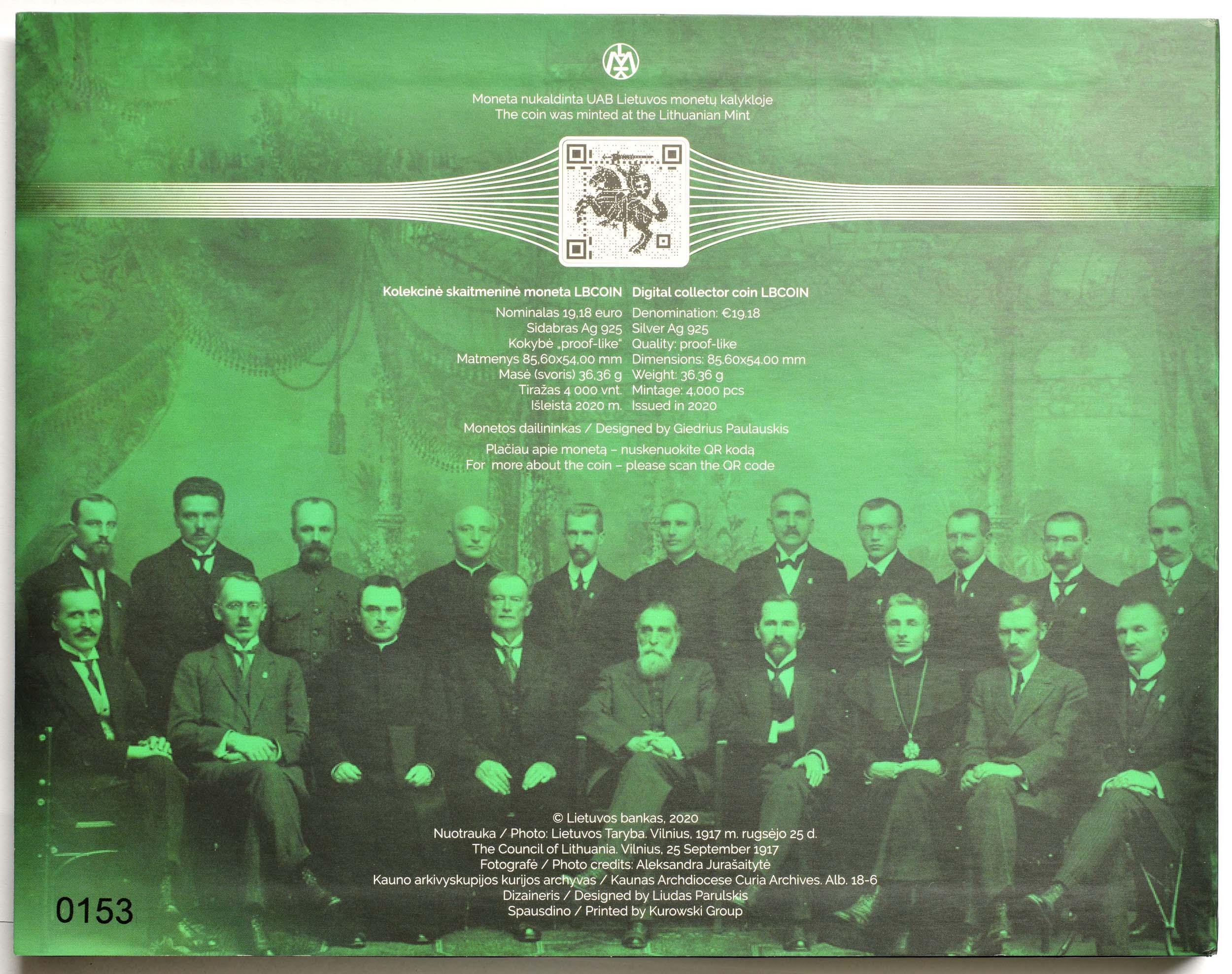 Zertifikat:Litauen : 19,18 Euro Unterzeichner der Unabhängigkeitserklärung im Jahr 1918 - erste Blockchain-Münze  2020 PP