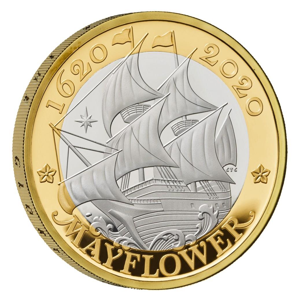 Lieferumfang:Großbritannien : 2 Pfund Reise der Mayflower vergoldet  2020 PP