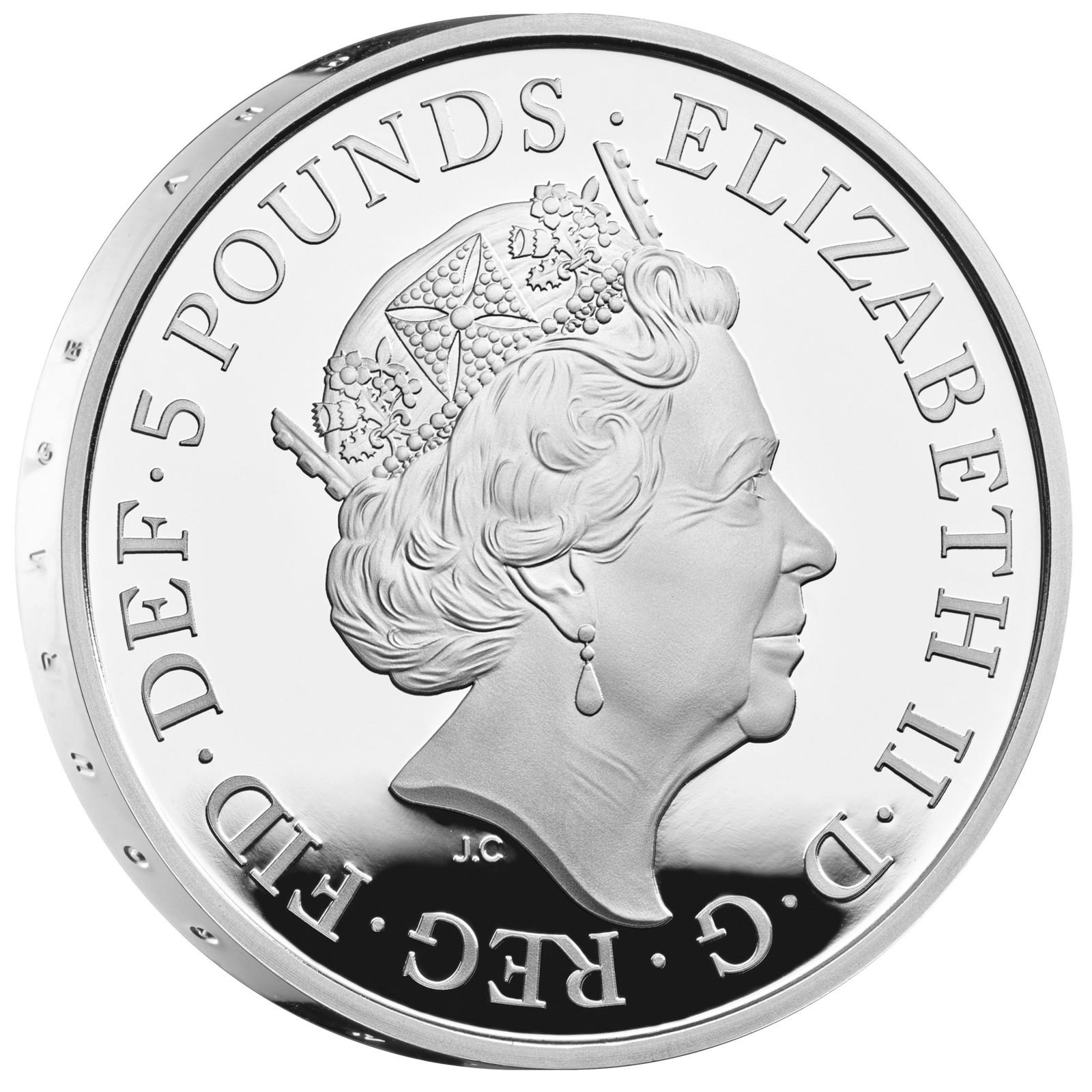 Rückseite:Großbritannien : 5 Pfund 75 Jahre Ende WW2  2020 PP