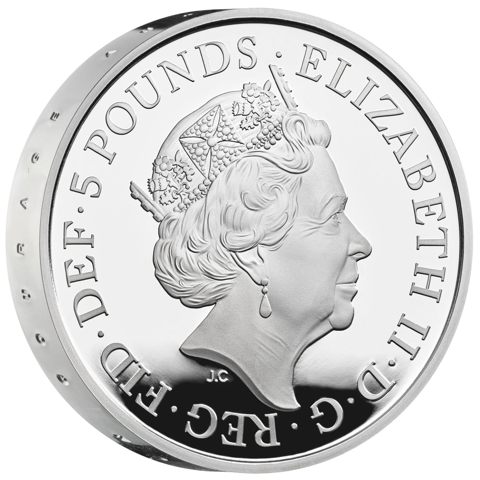 Vorderseite:Großbritannien : 5 Pfund 75 Jahre Ende WW2 - Piedfort  2020 PP