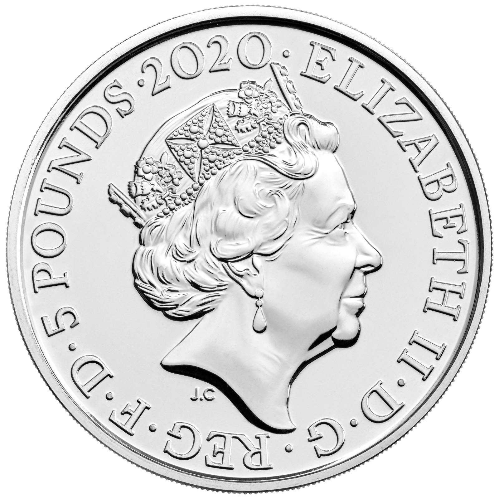Vorderseite:Großbritannien : 5 Pfund Der Tower von London – Die königliche Menagerie  2020 Stgl.