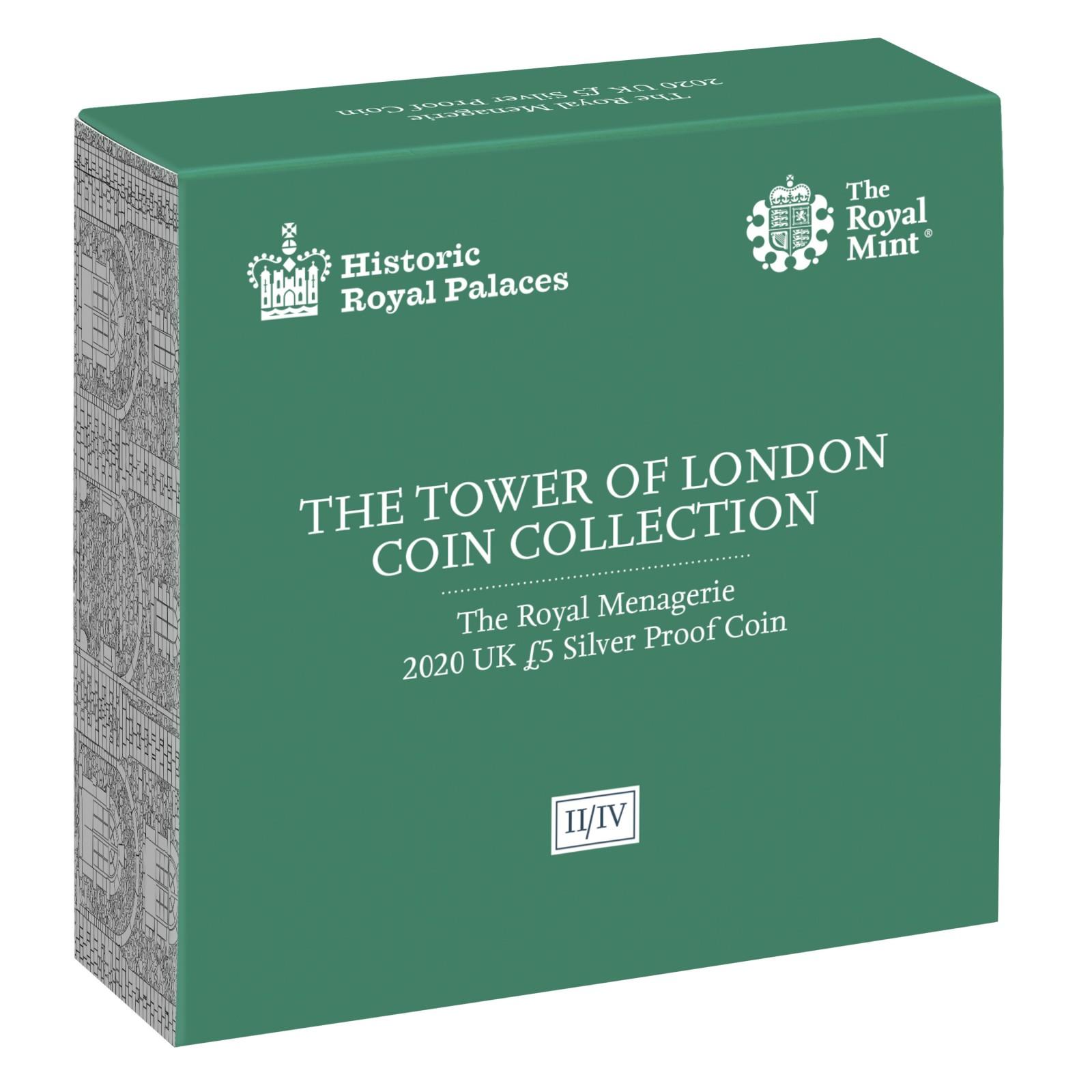 Rückseite:Großbritannien : 5 Pfund Der Tower von London – Die königliche Menagerie  2020 PP
