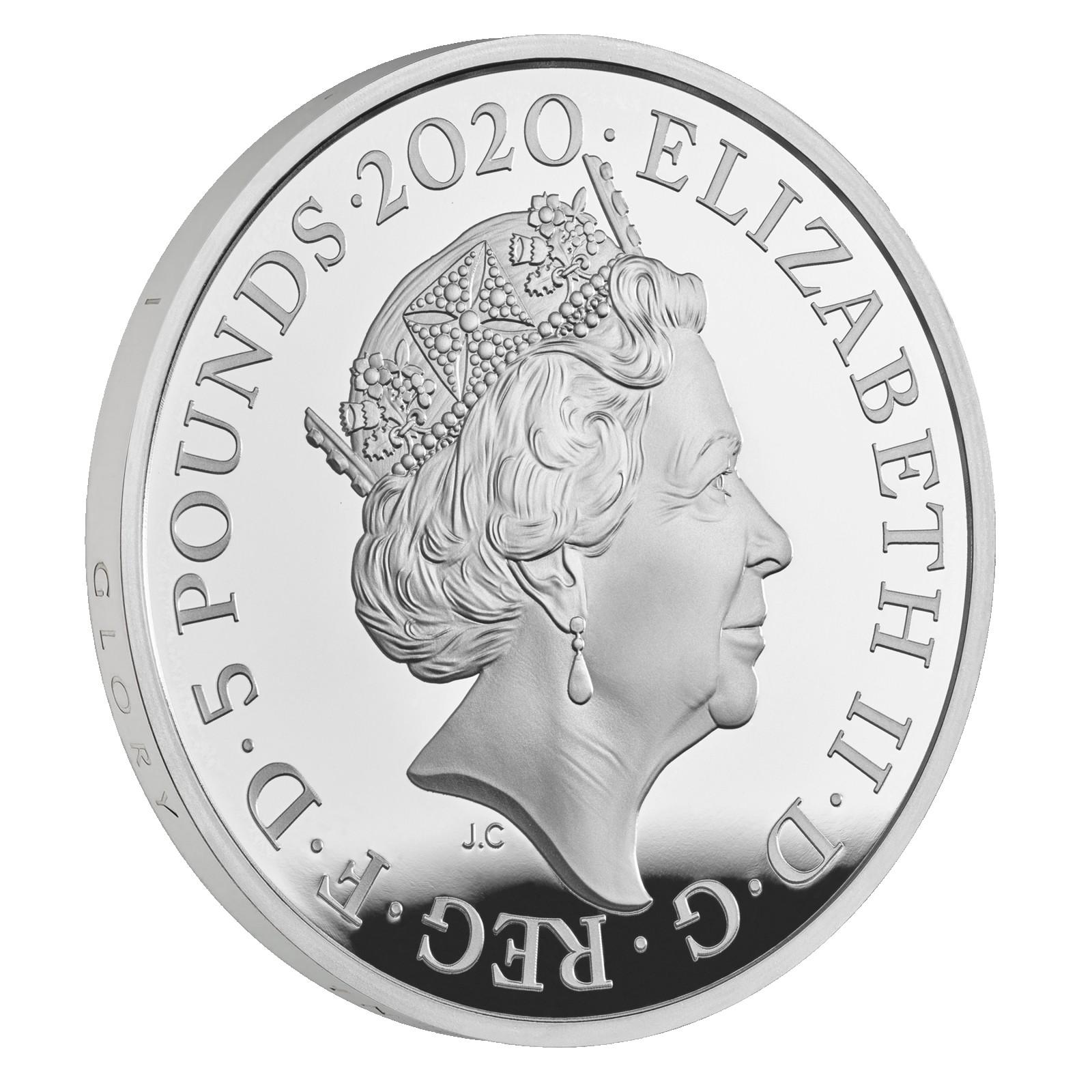 Vorderseite:Großbritannien : 5 Pfund Der Tower von London – Die königliche Menagerie  2020 PP