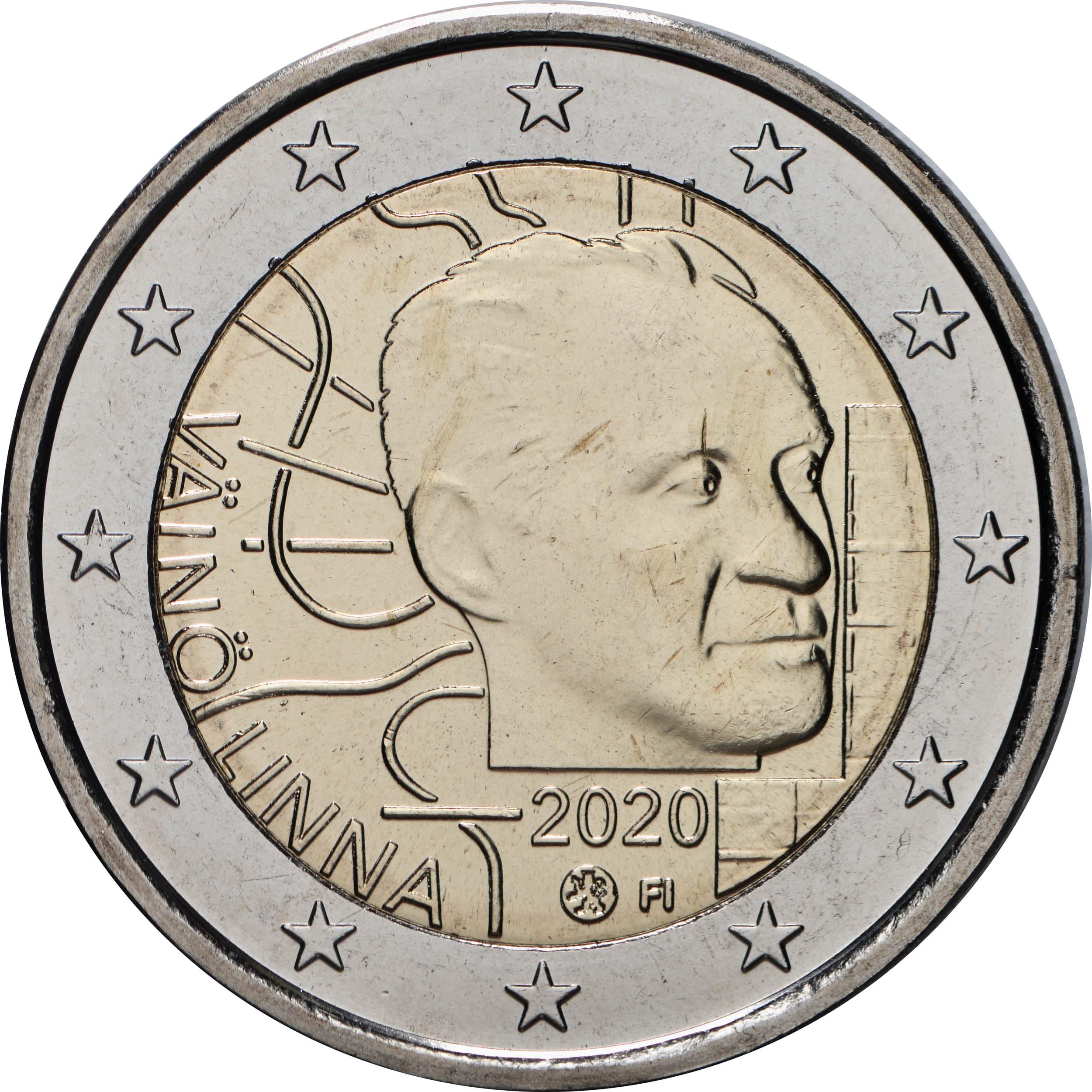 Rückseite:Finnland : 2 Euro 100. Geburtstag von Väinö Linna   2020 Stgl.