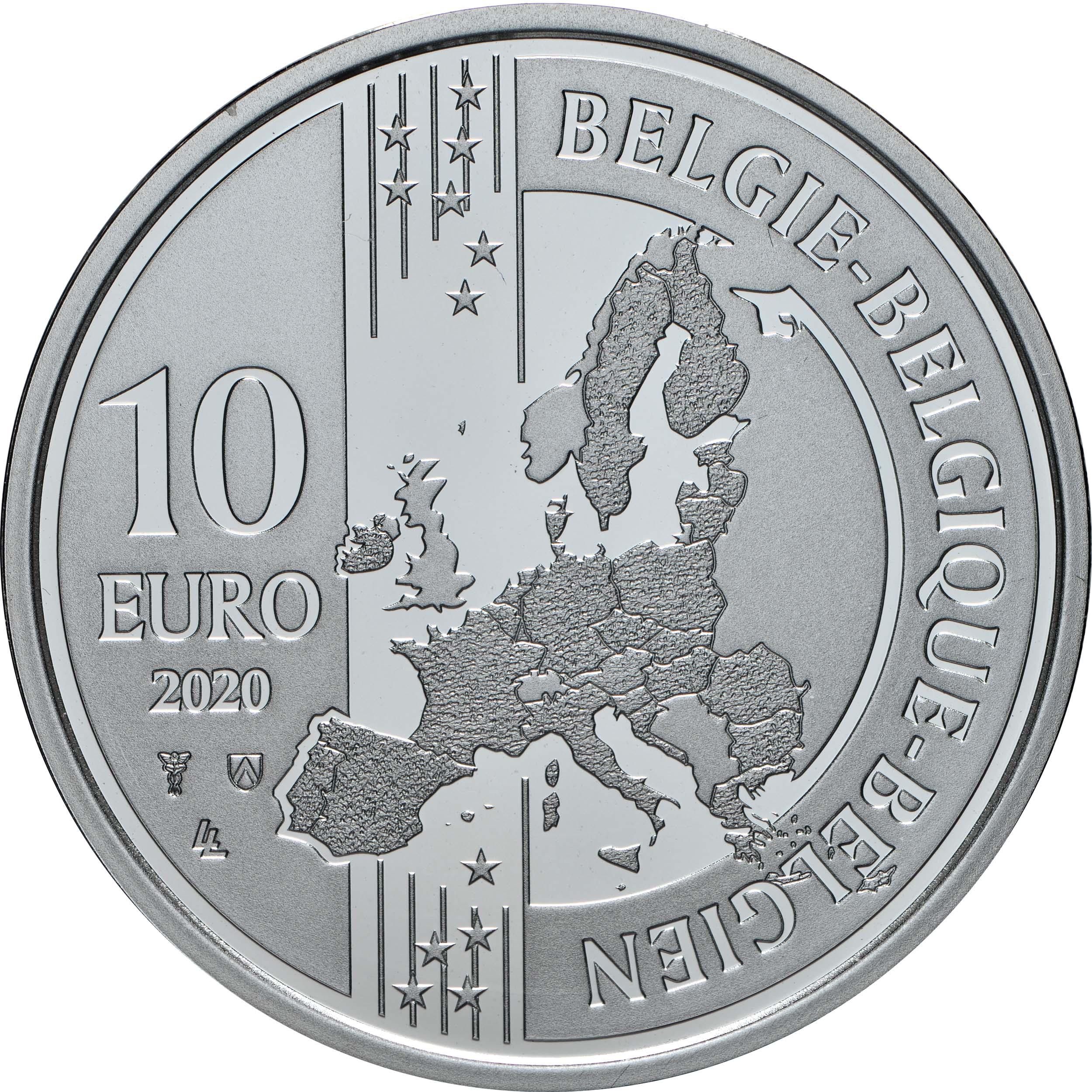 Rückseite:Belgien : 10 Euro Christoffel Plantijn  2020 PP