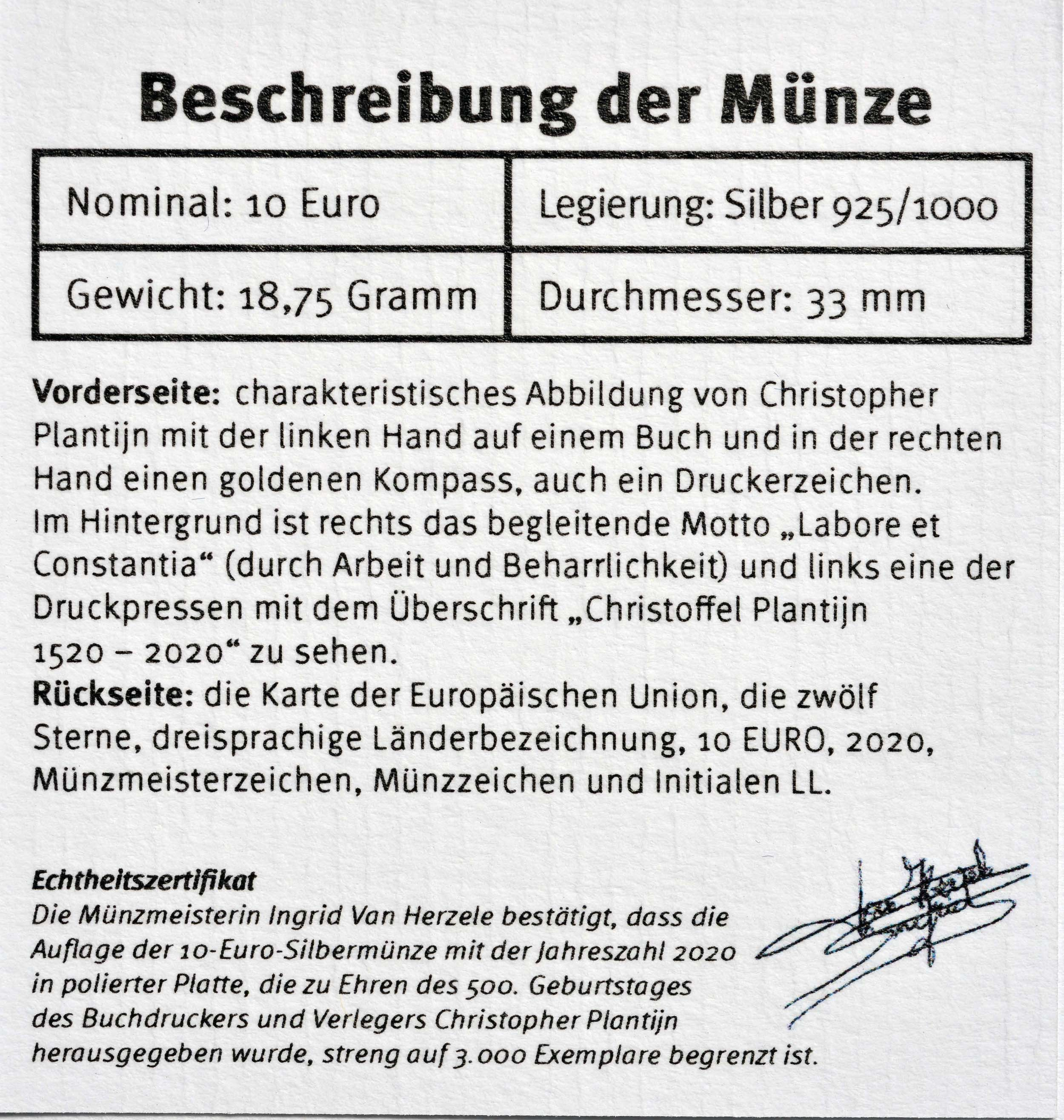Zertifikat:Belgien : 10 Euro Christoffel Plantijn  2020 PP