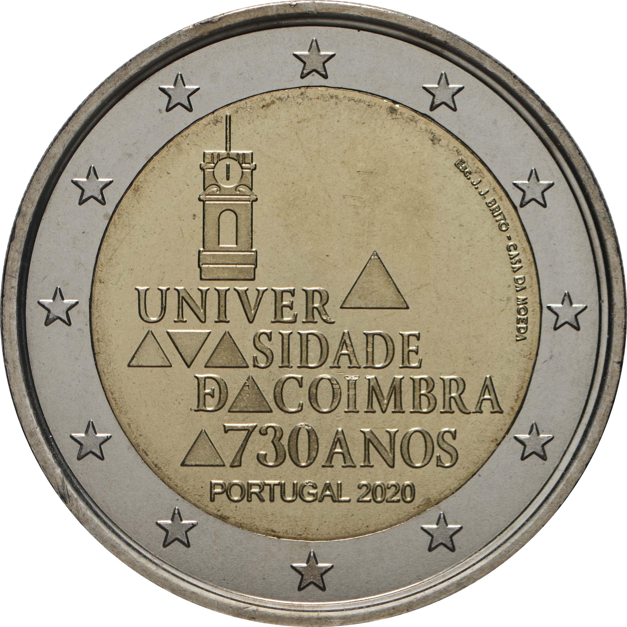 Rückseite:Portugal : 2 Euro 730. Jahrestag der Gründung der Universität Coimbra  2020 bfr
