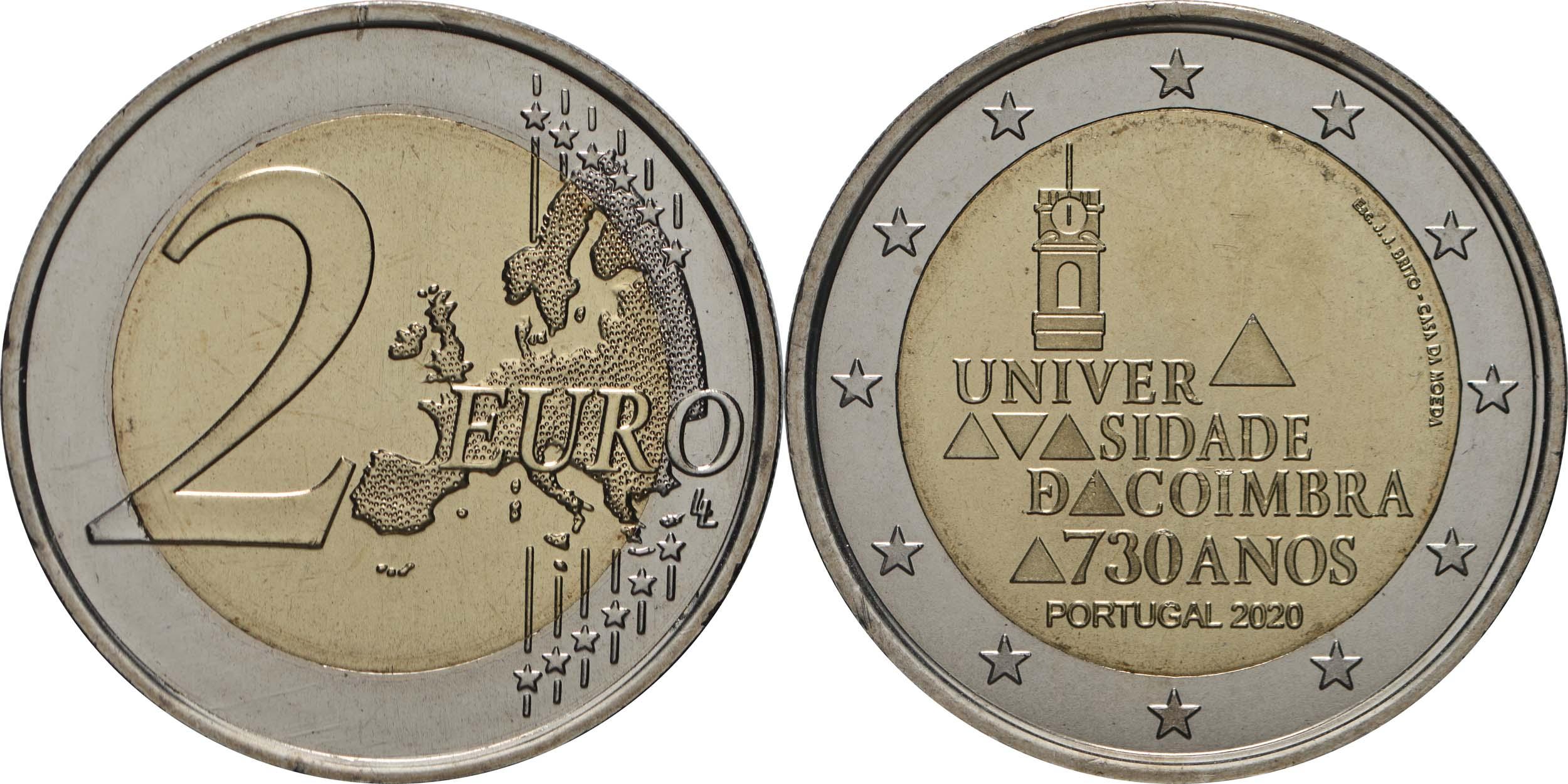 Lieferumfang:Portugal : 2 Euro 730. Jahrestag der Gründung der Universität Coimbra  2020 bfr