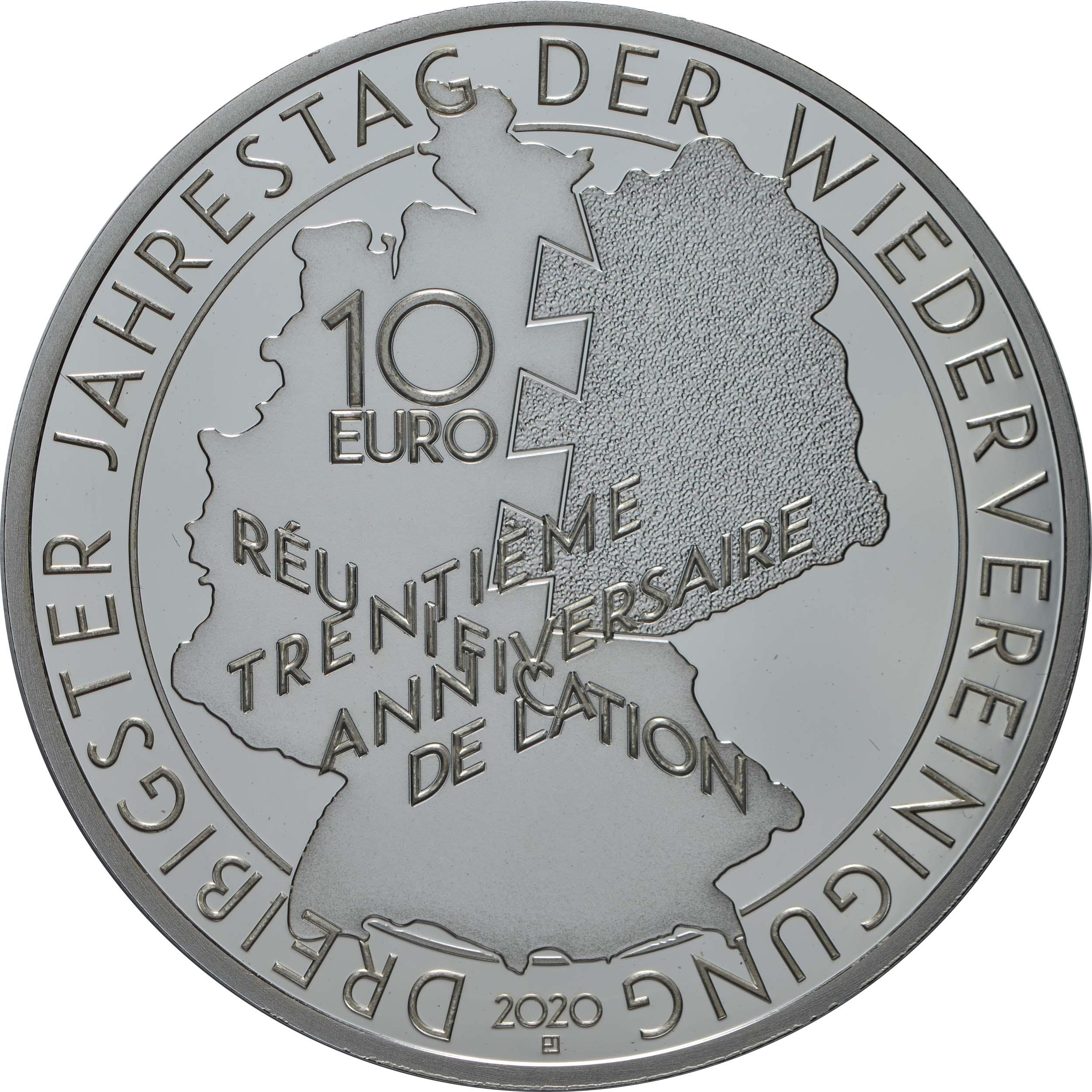 Rückseite:Frankreich : 10 Euro Mitterand-Kohl  2020 PP
