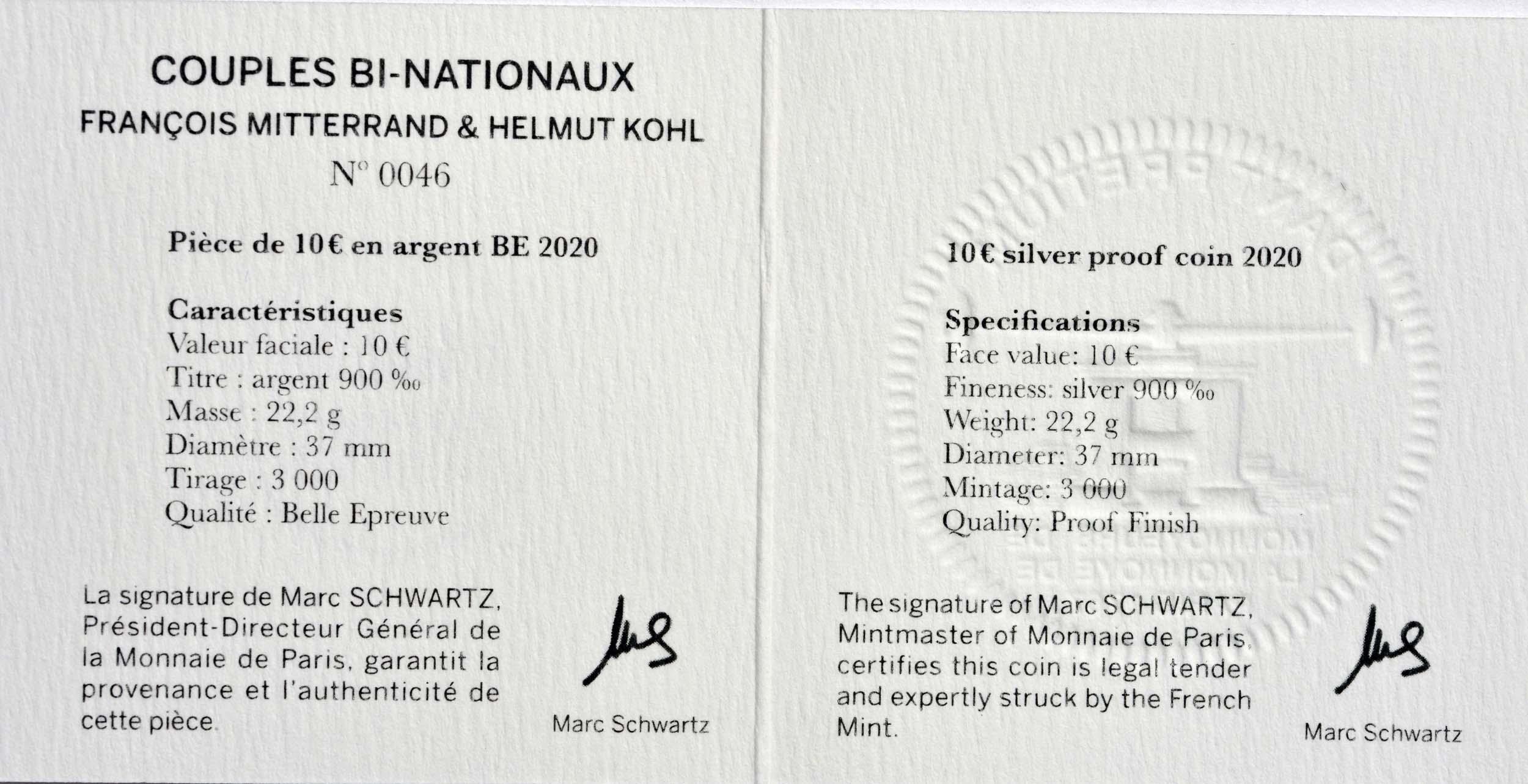 Zertifikat:Frankreich : 10 Euro Mitterand-Kohl  2020 PP