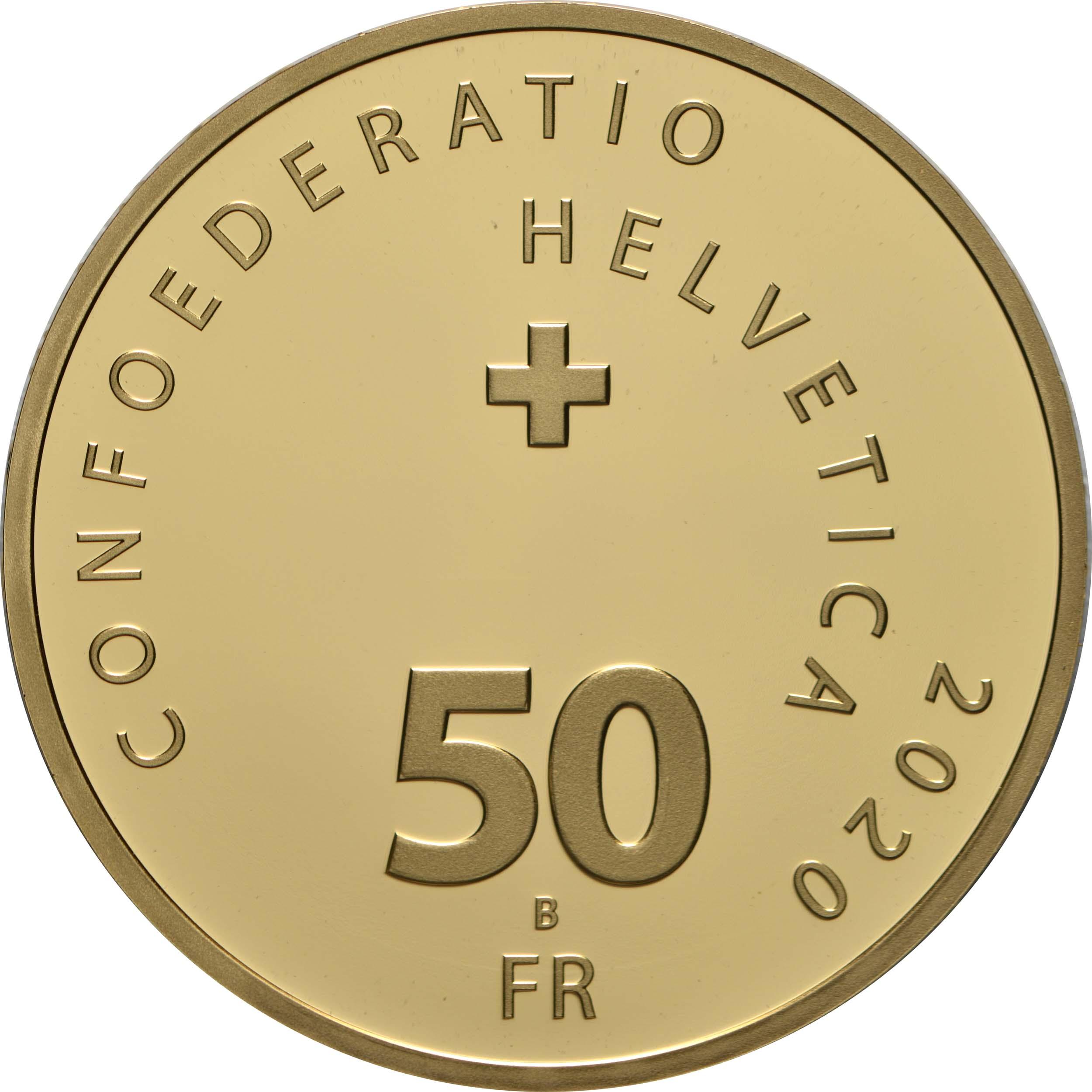 Rückseite:Schweiz : 50 sfr Roger Federer  2020 PP