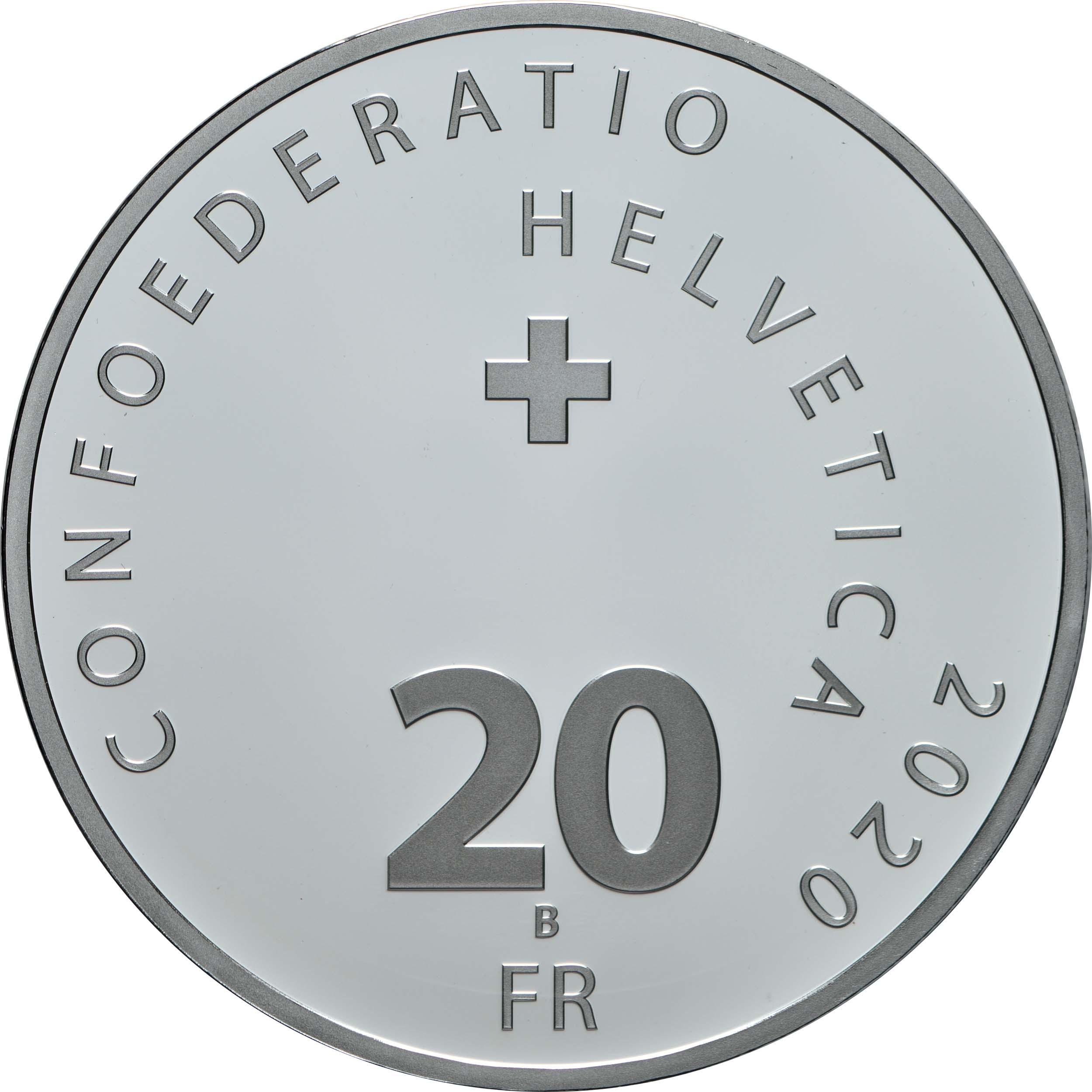 Rückseite:Schweiz : 20 sfr 150 Jahre Schweizer Feuerwehrverband mit Künstlerzertifikat  2020 PP