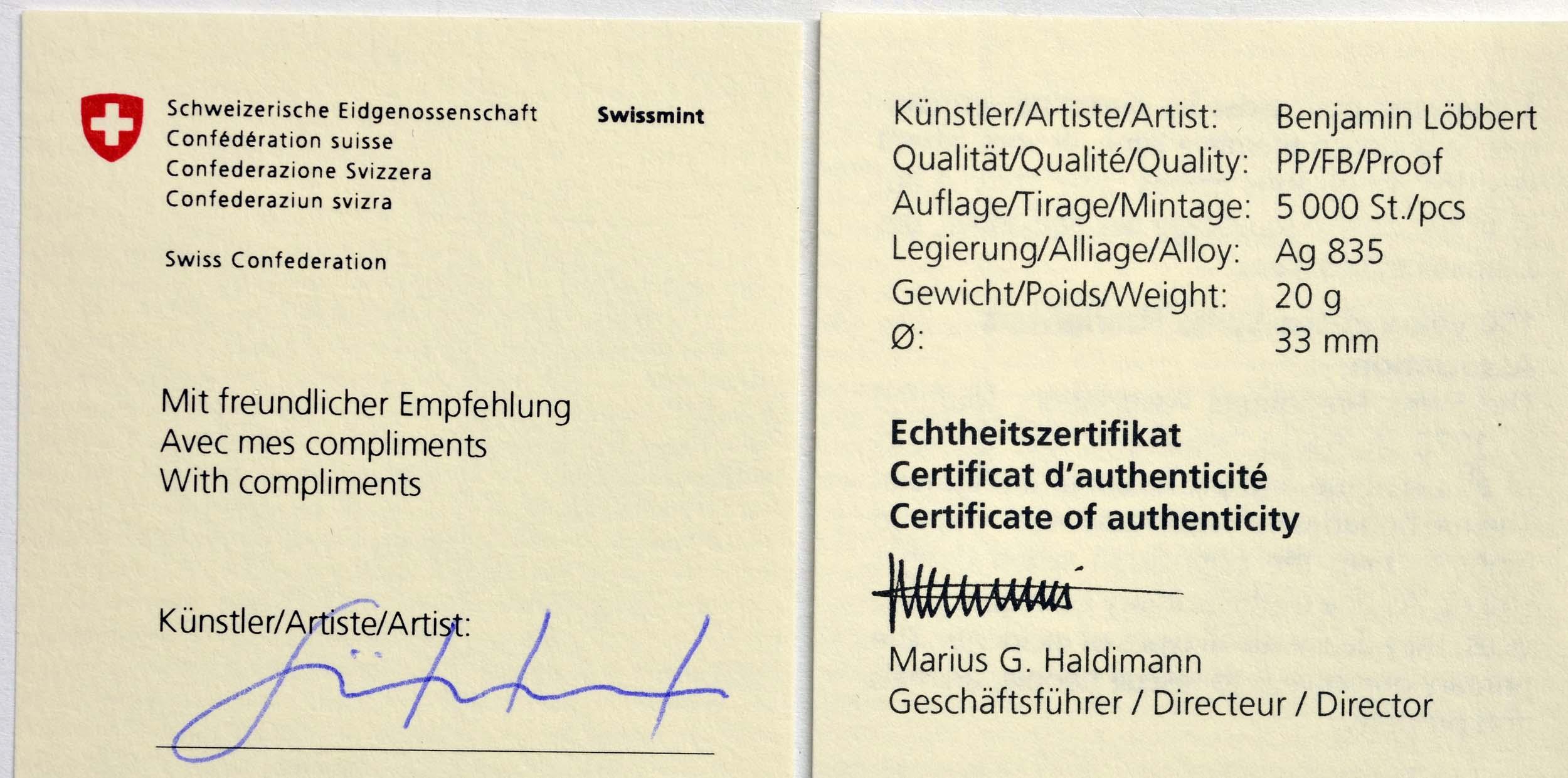 Zertifikat:Schweiz : 20 sfr 150 Jahre Schweizer Feuerwehrverband mit Künstlerzertifikat  2020 PP