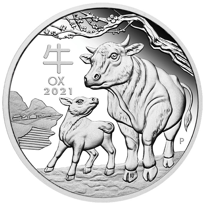 Vorderseite:Australien : 1 Dollar Jahr des Ochsen  2021 PP