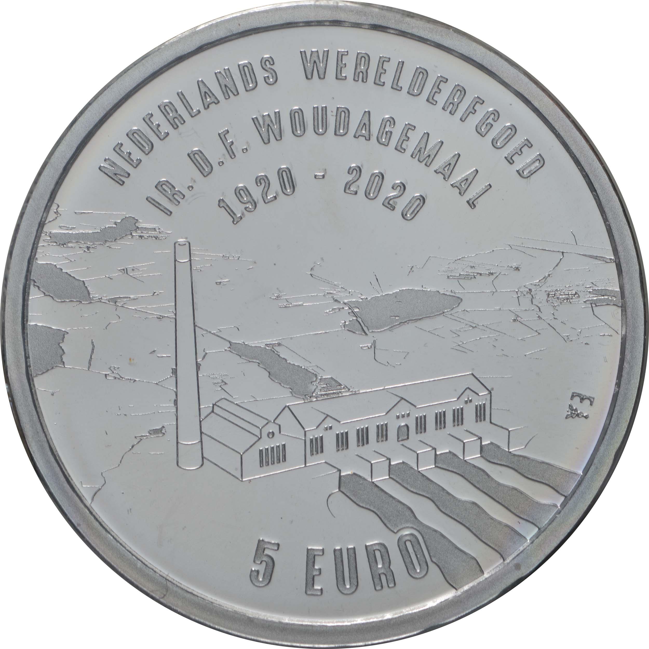 Vorderseite:Niederlande : 5 Euro Wouda-Pumpwerk  2020 Stgl.