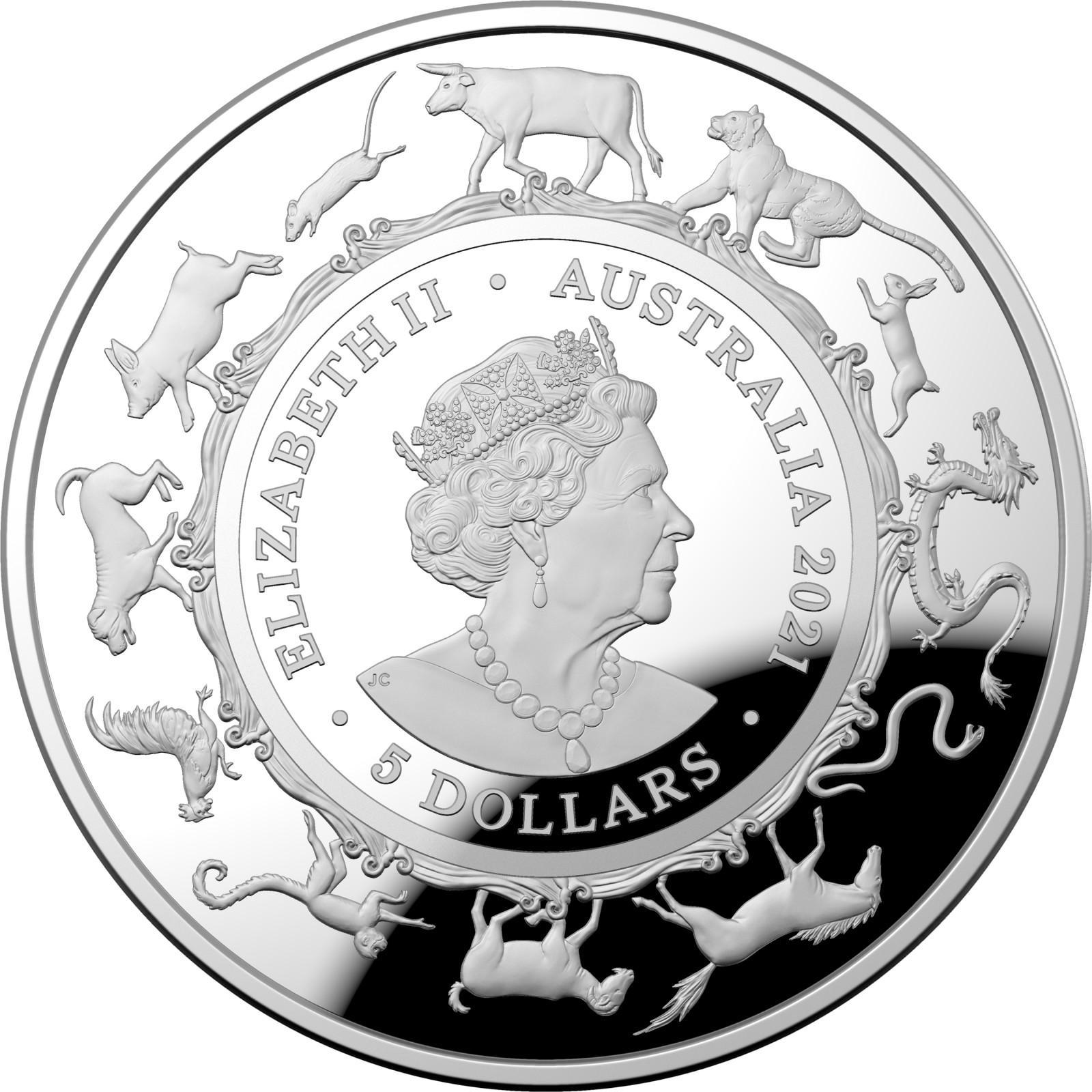 Rückseite:Australien : 5 Dollar Jahr des Ochsen (RAM)   2021 PP