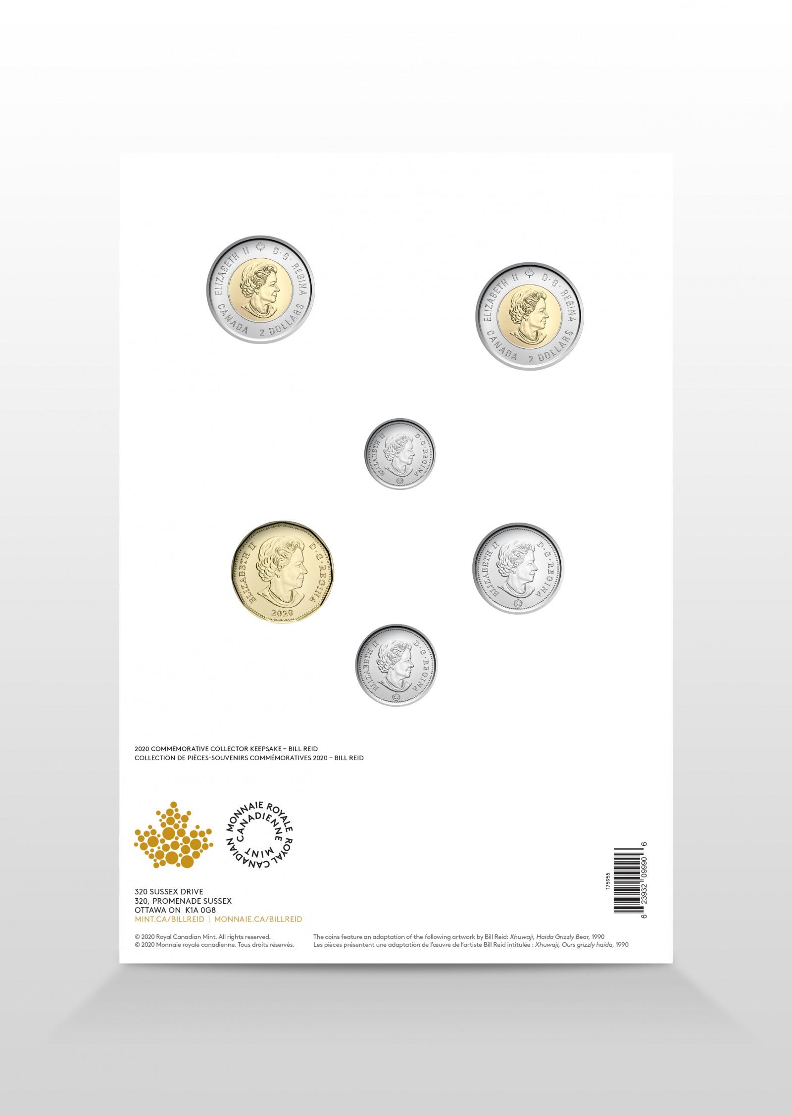 Rückseite:Kanada : 5,4 Dollar Sammler Andenken - Bill Reid   2020 bfr