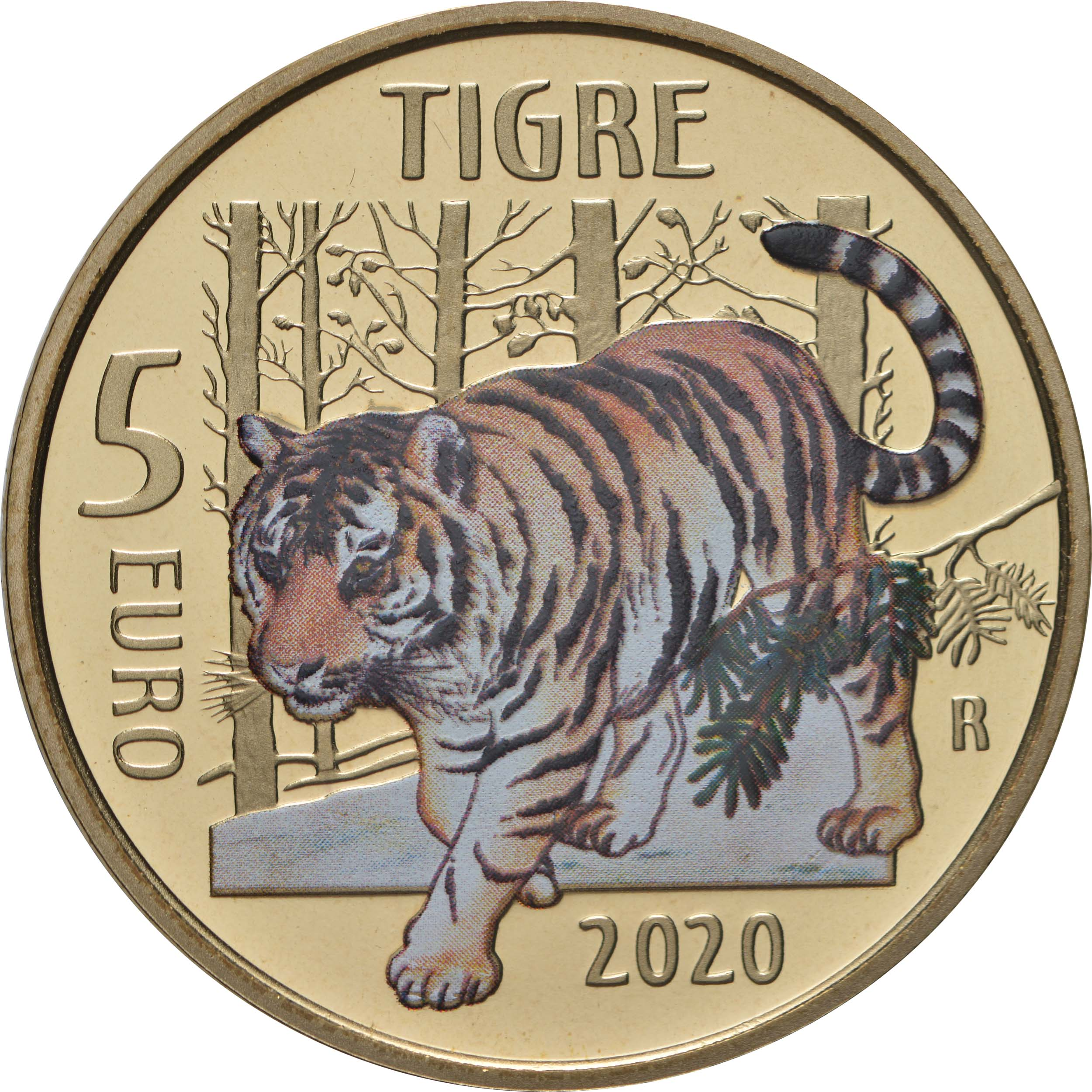 Vorderseite:Italien : 5 Euro Tiger#1 farbig  2020 PP