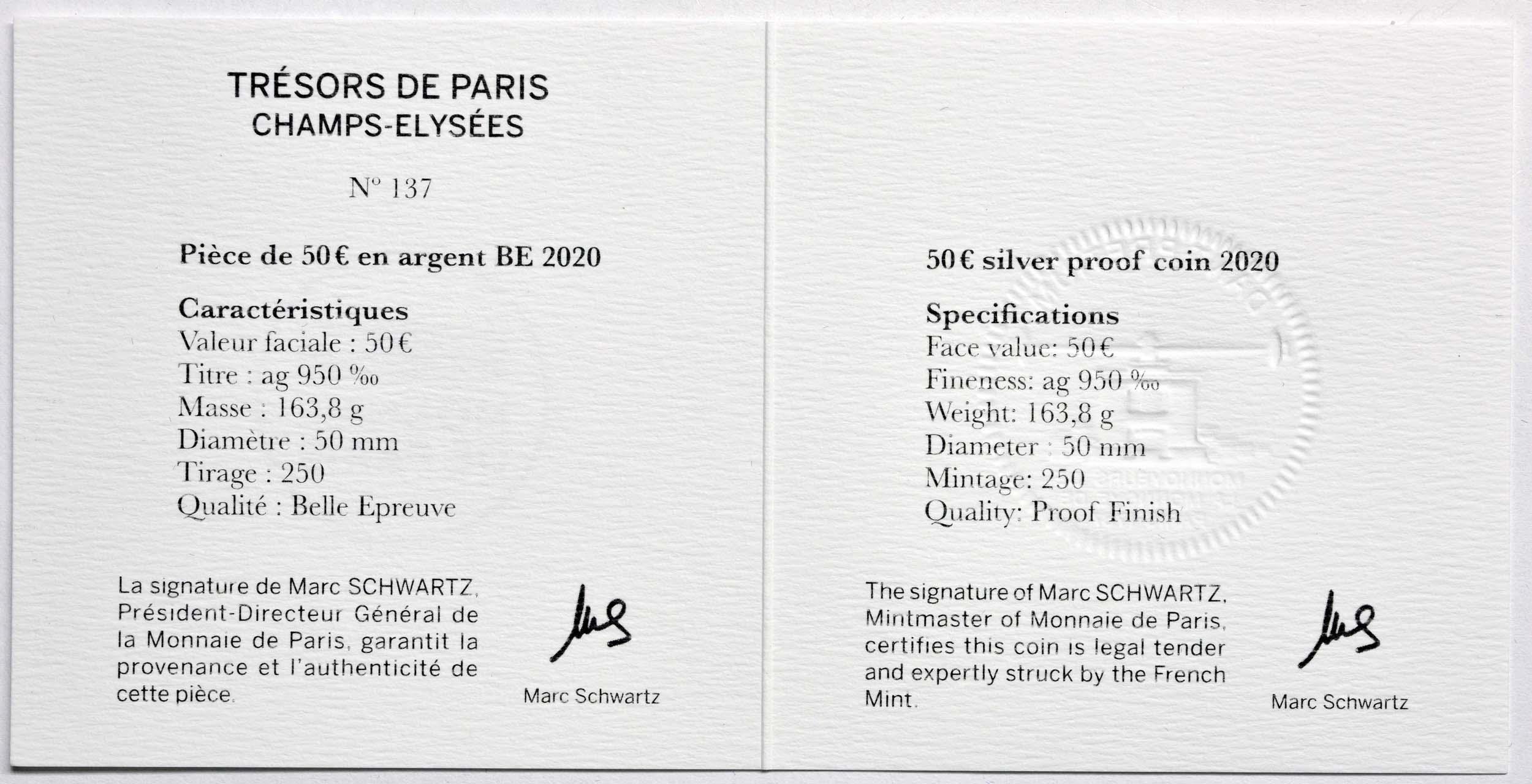 Zertifikat:Frankreich : 50 Euro Champs-Élysées  2020 PP
