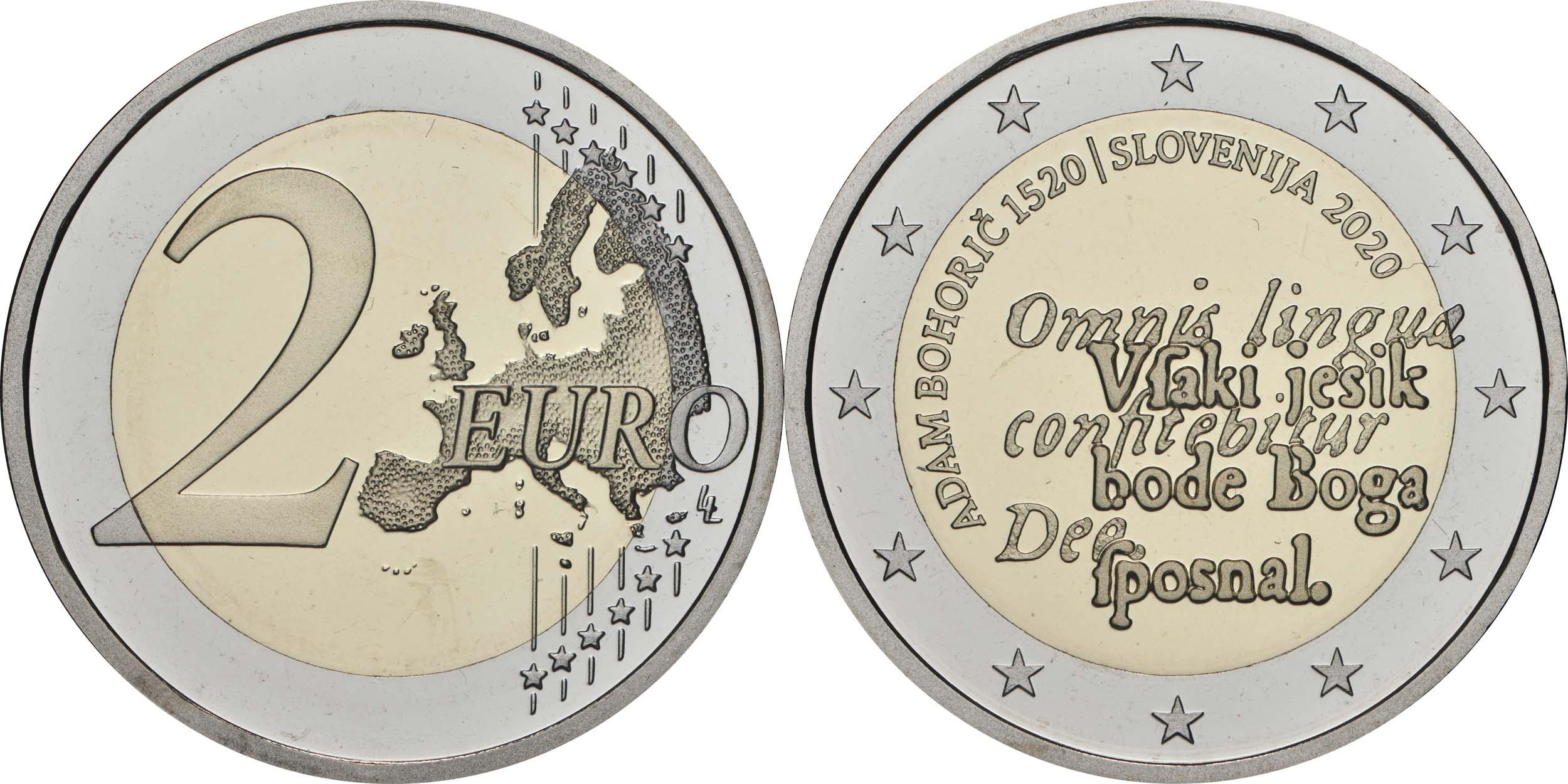 Lieferumfang:Slowenien : 2 Euro 500. Geburtstag von Adam Bohoric  2020 PP