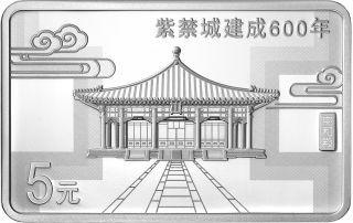 Rückseite:China : 3x5 Yuan Verbotene Stadt - Set - im Etui  2020 PP