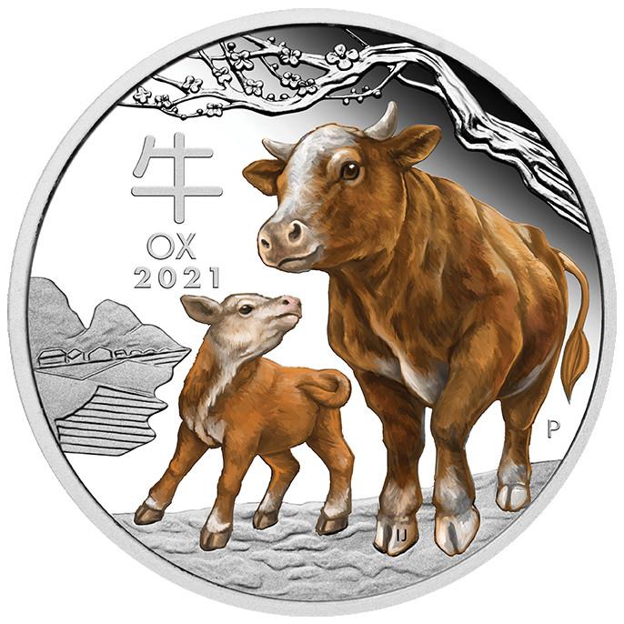 Vorderseite:Australien : 1 Dollar Jahr des Ochsen (Farbe)  2021 PP