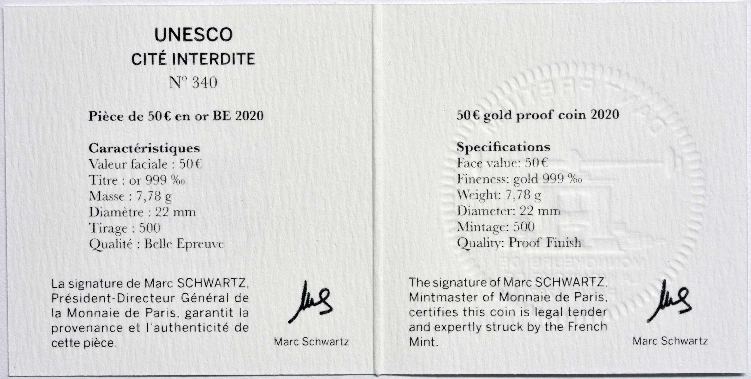 Zertifikat:Frankreich : 50 Euro Verbotene Stadt  2020 PP