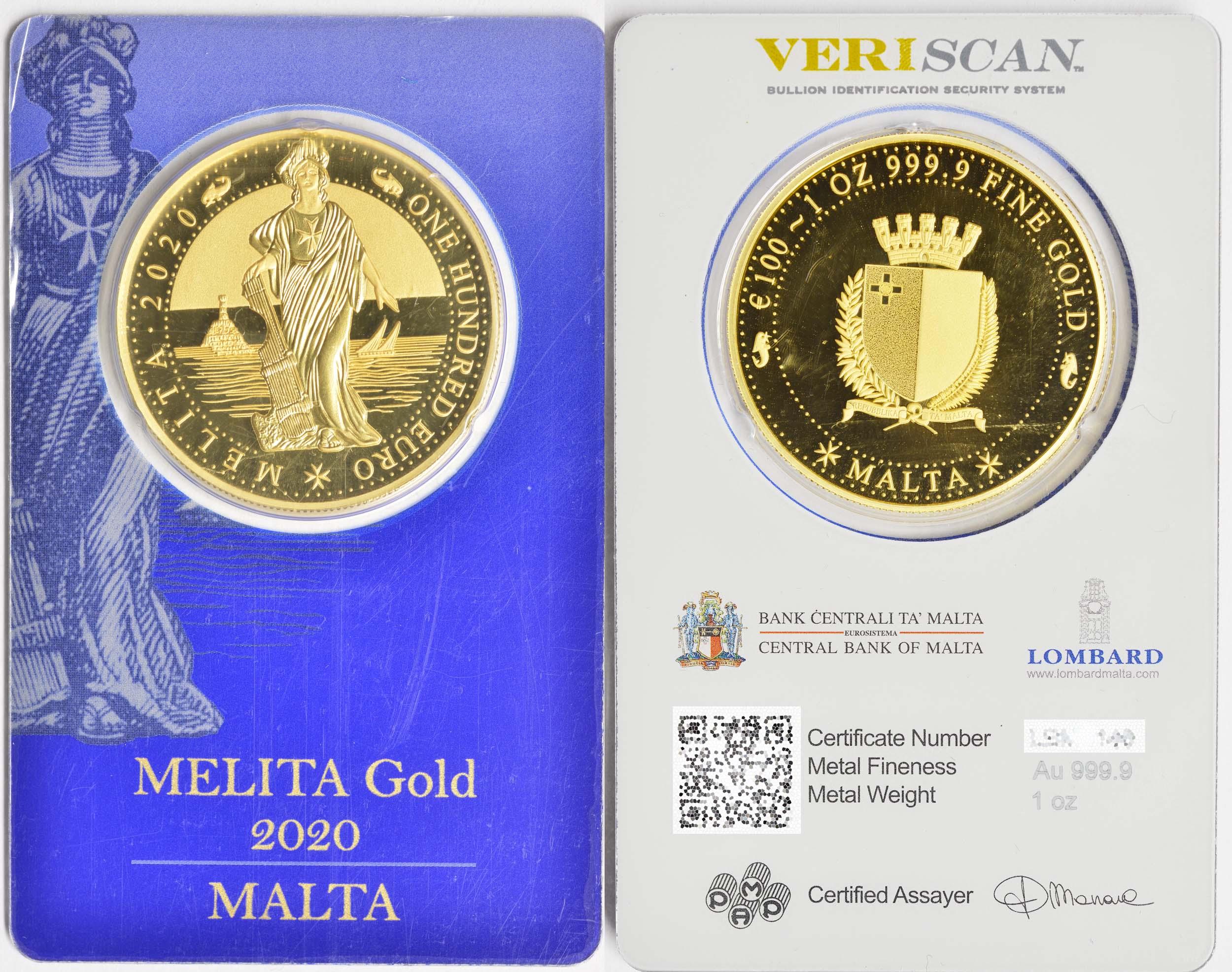 Zertifikat:Malta : 100 Euro Melita  2020 PP